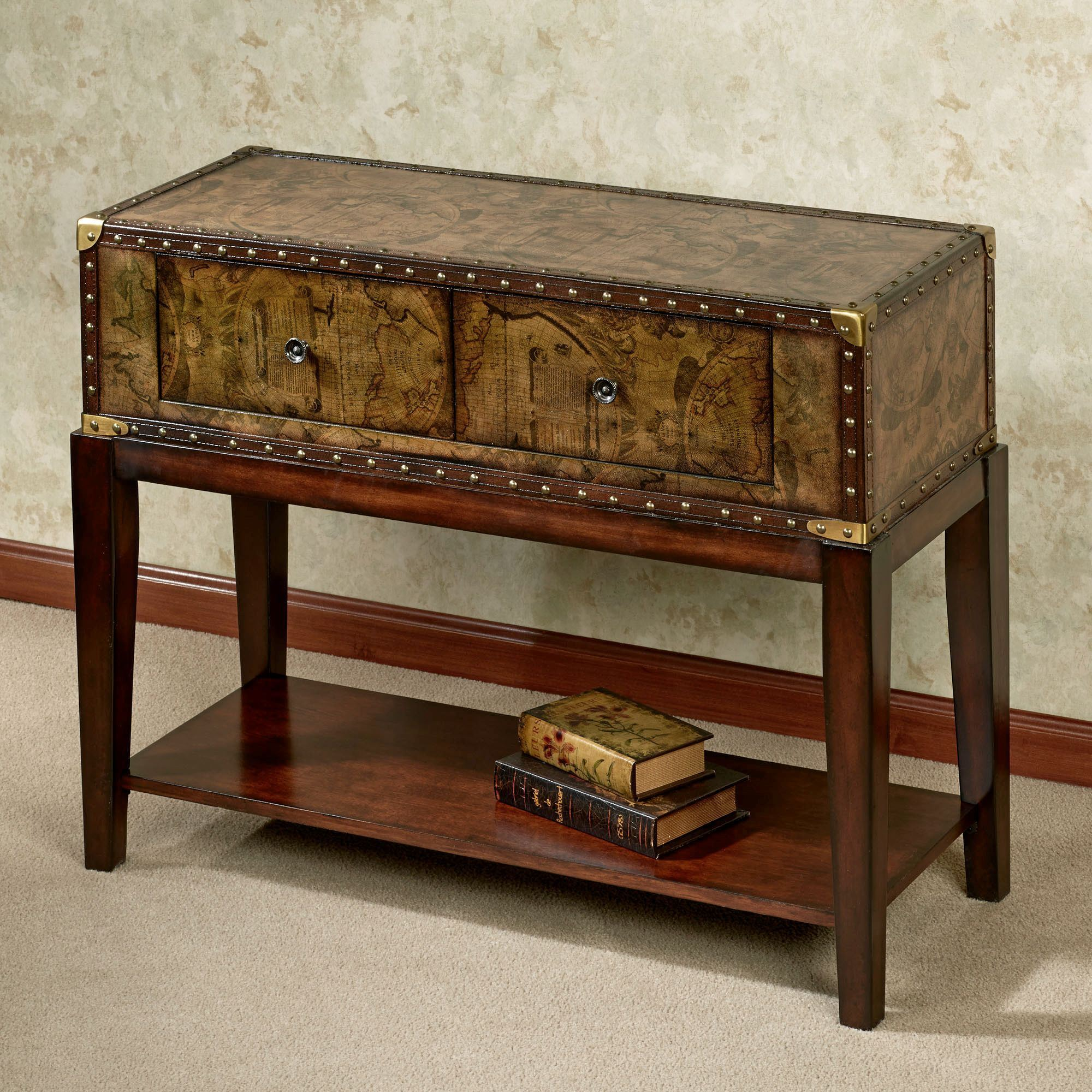 Travis Old World Map Console Table Regal Walnut. Click To Expand