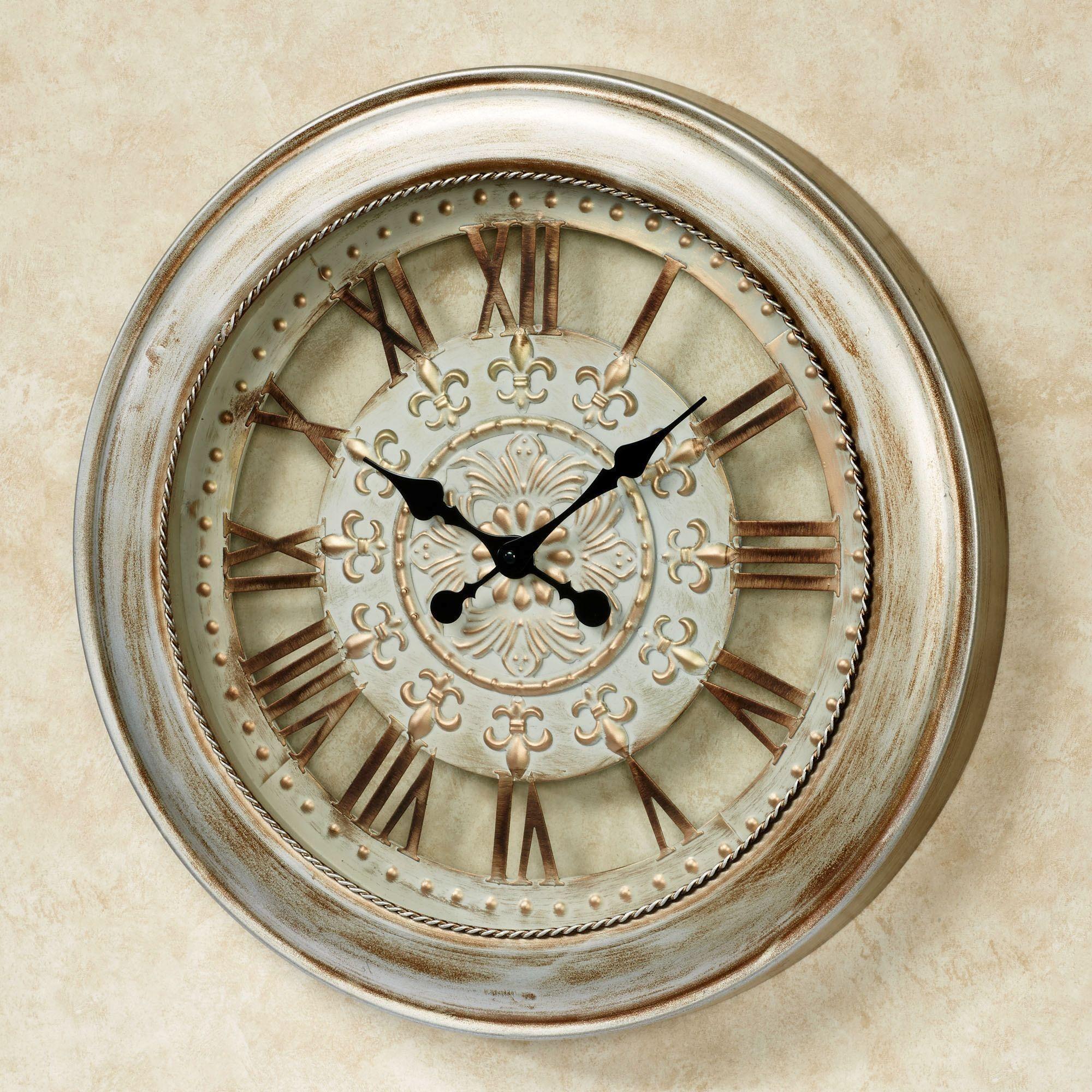 Calais Fleur de Lis Metal Wall Clock