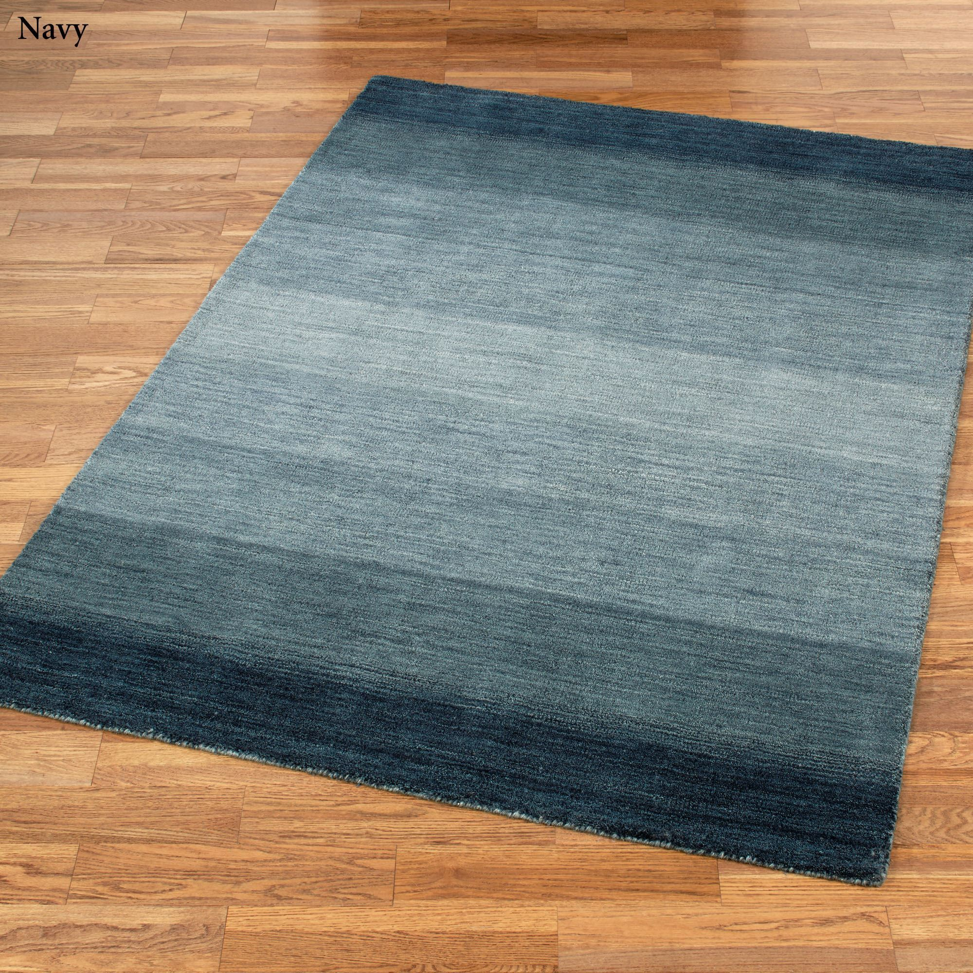 Hand Loomed Shine Rug Gray: Blue Ombre Rug