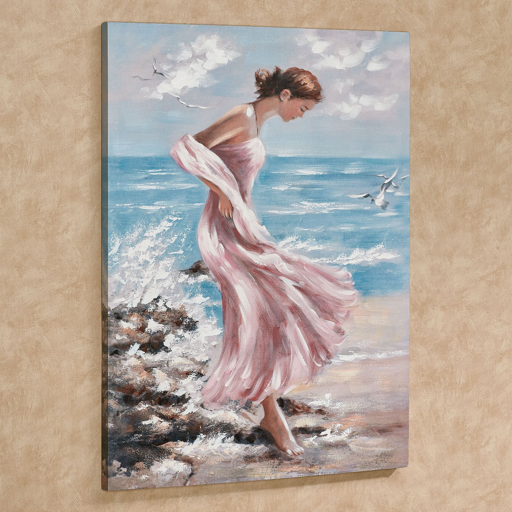 Beach Chic Woman In Pink Gown Canvas Wall Art