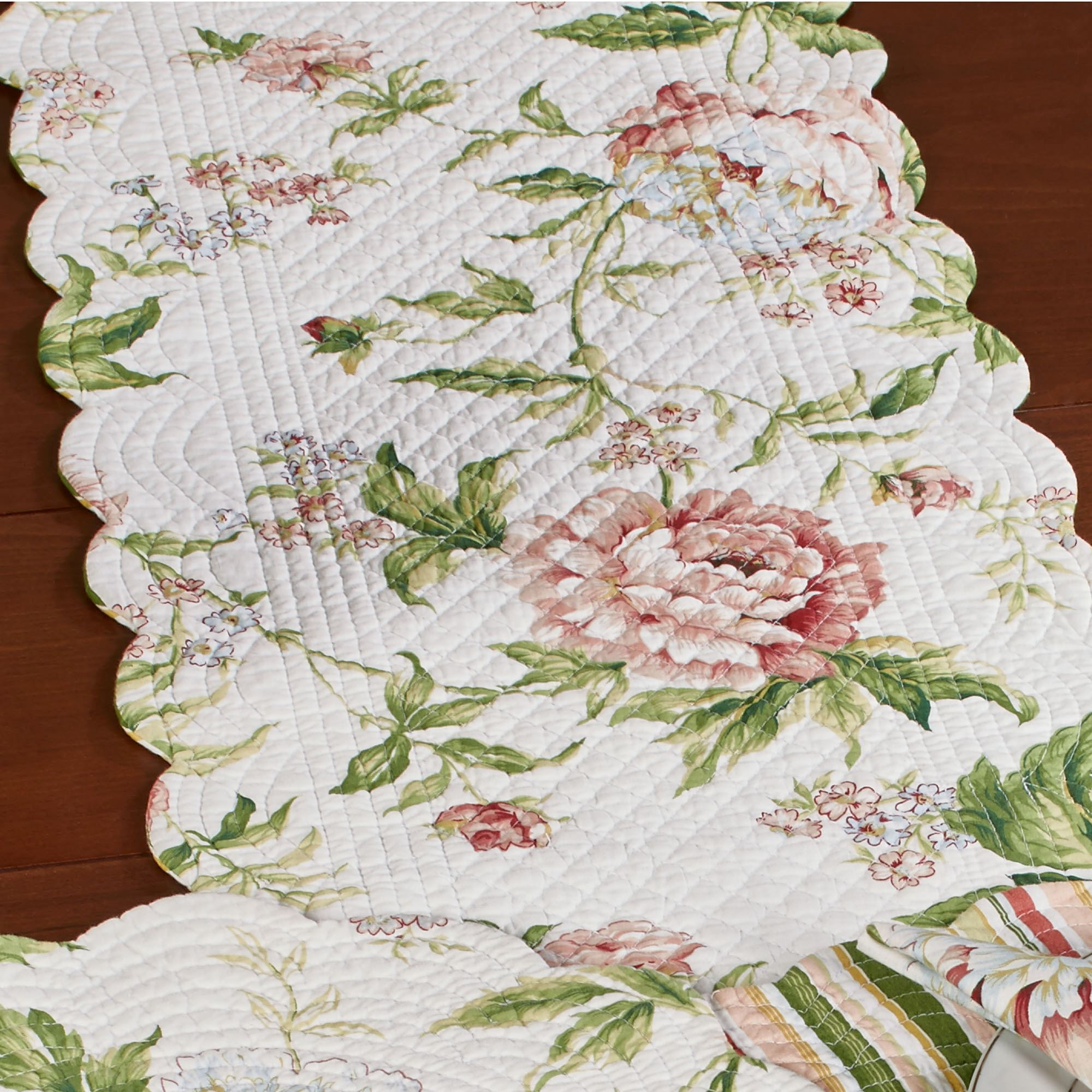 Pink Brianna Reversible Floral Table Linens