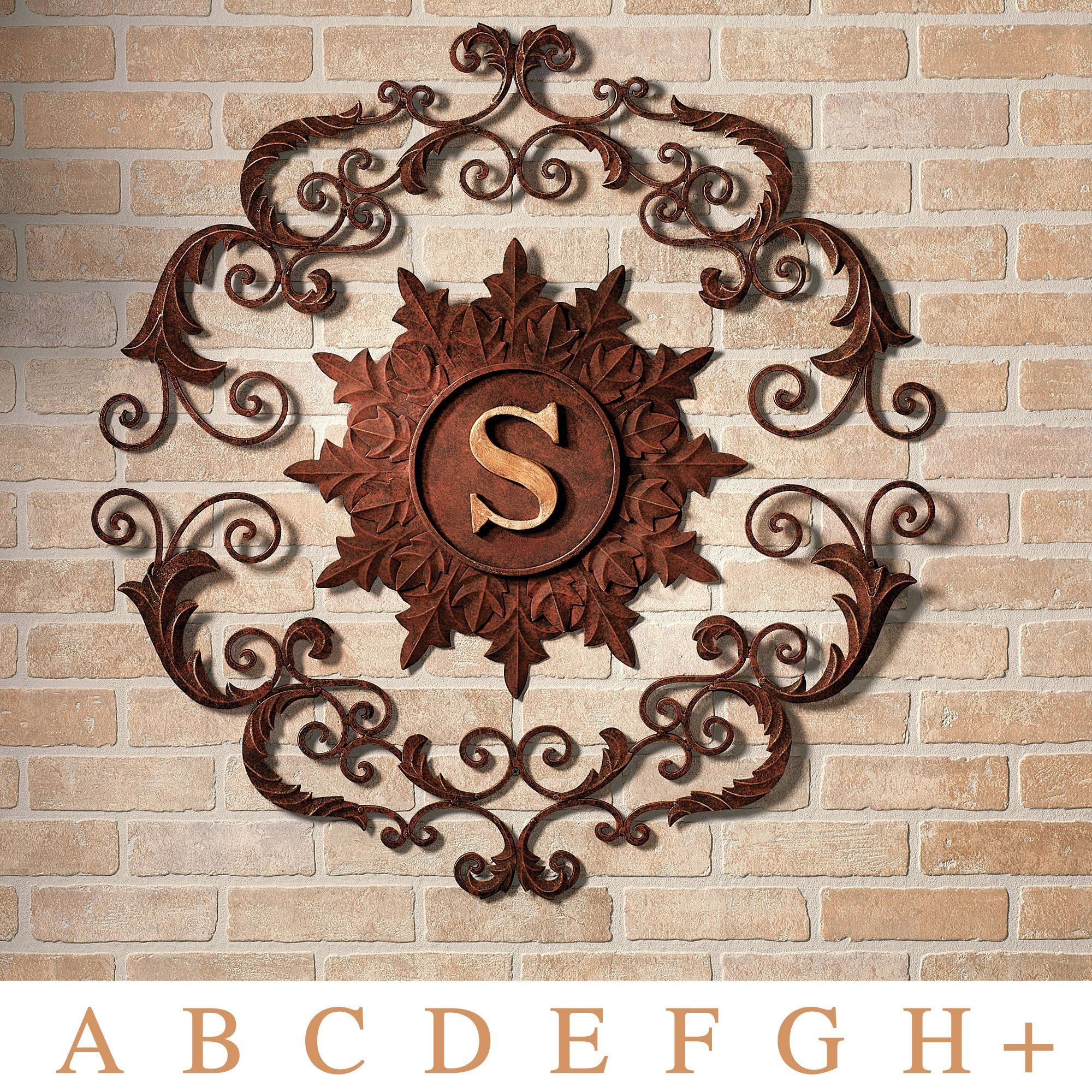 Outdoor Iron Wall Decor Kingston Monogram Metal Wall Grille