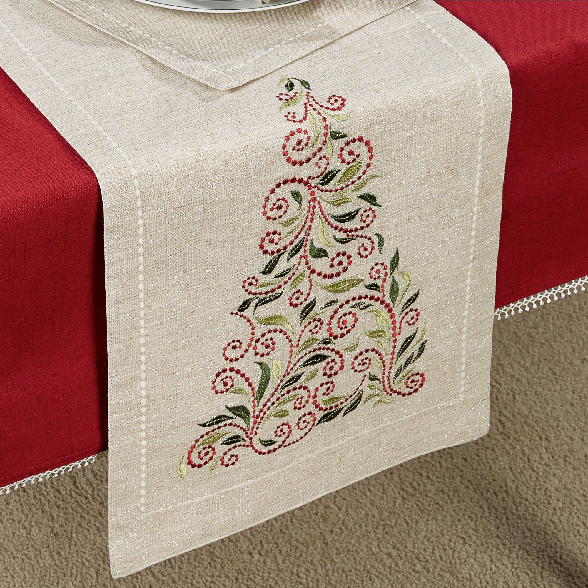 Lenox French Perle Tree Holiday Table Linens