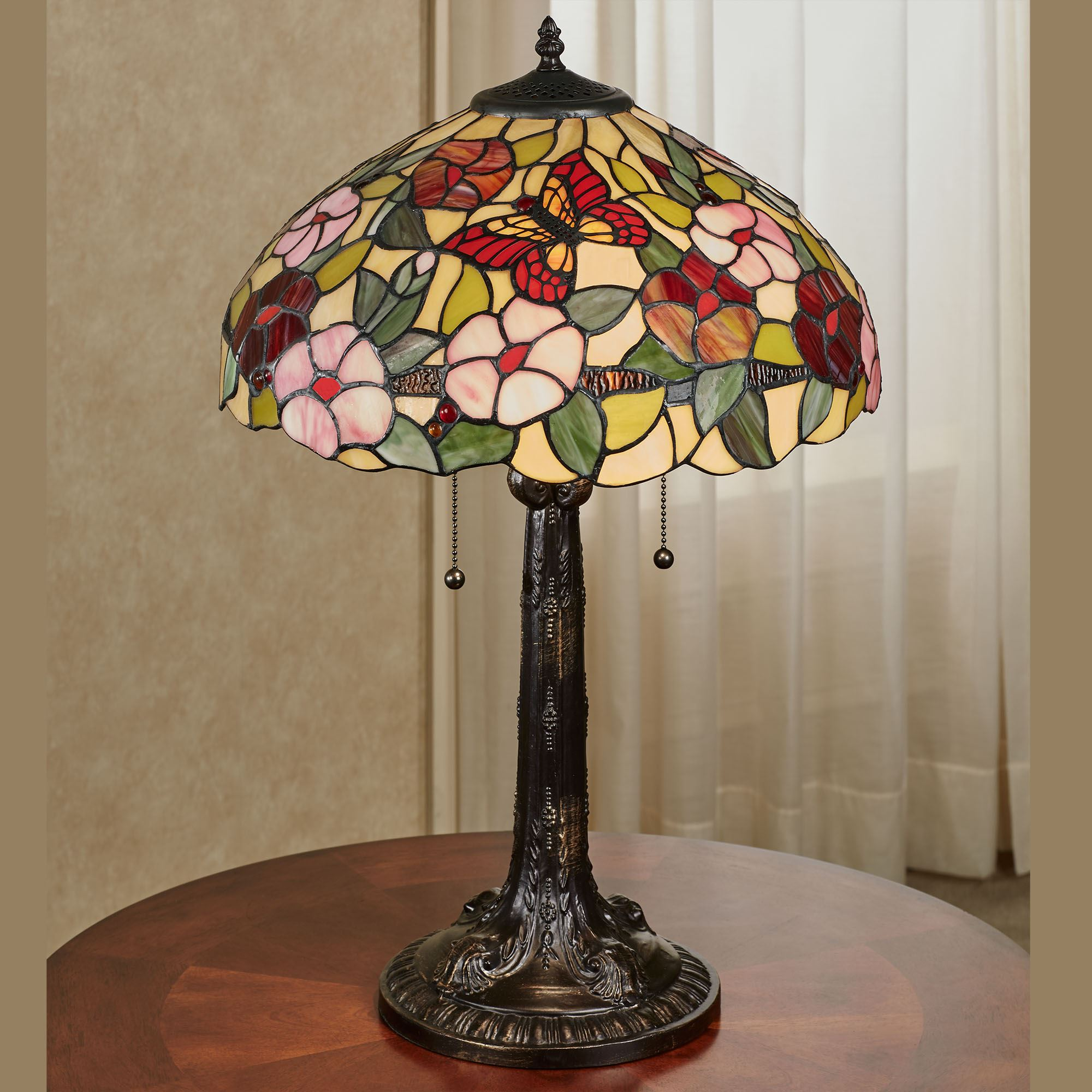 Spring Blossoms Butterfly Floral Stained Glass Table Lamp