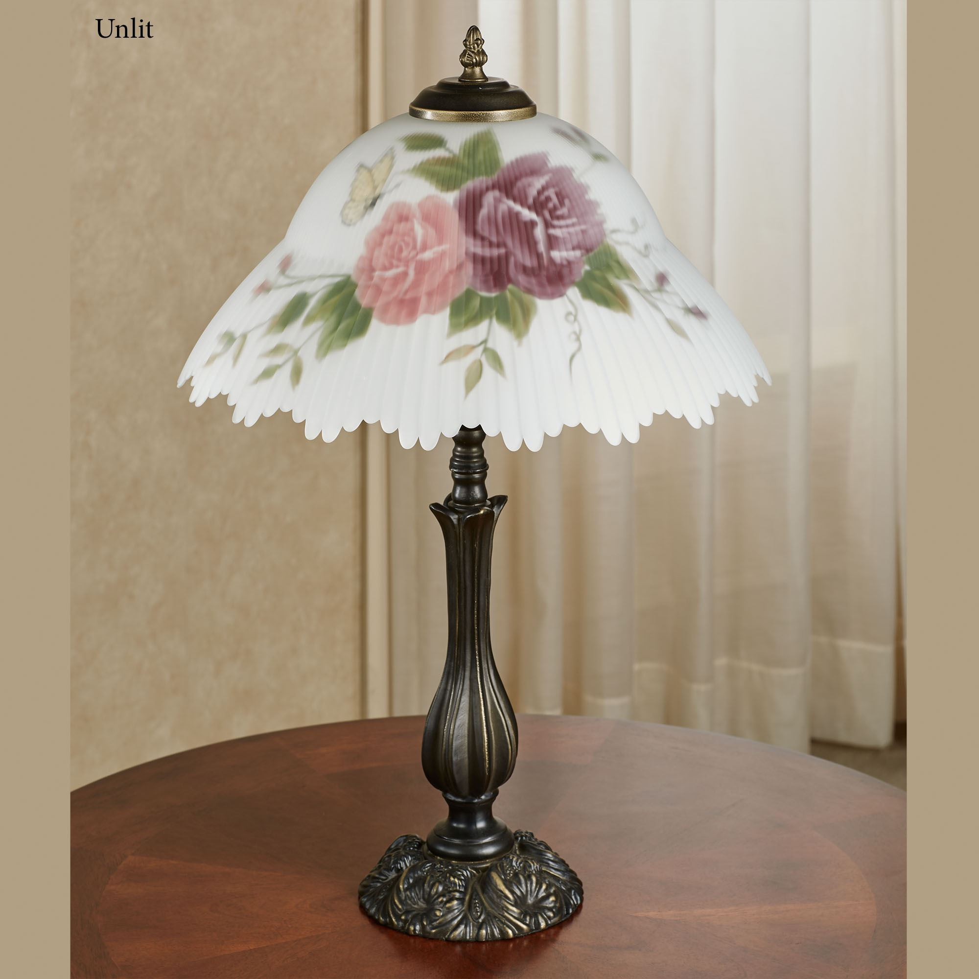Brinley Rose Floral Glass Shade Table Lamp