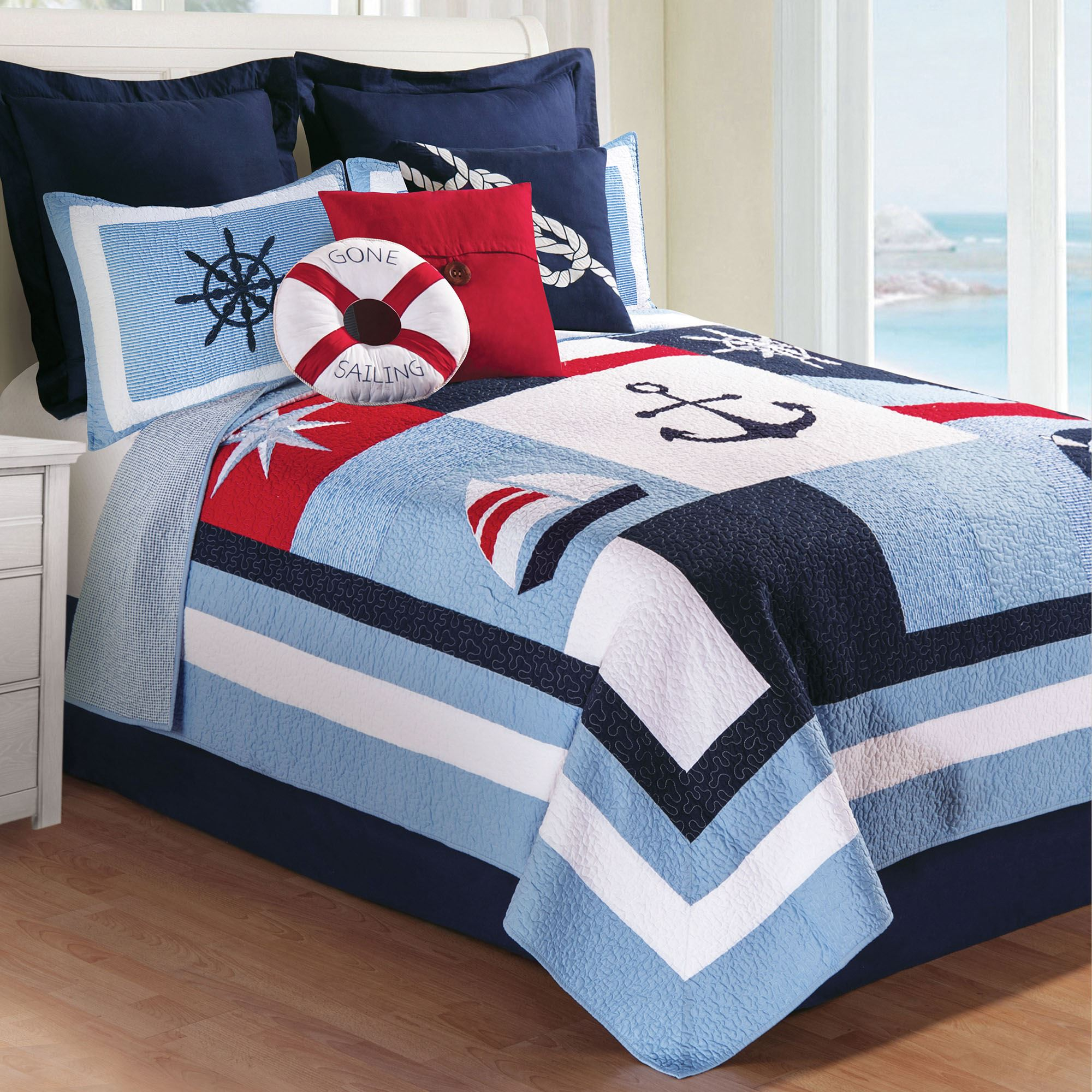 Noah Blue Nautical Patchwork Quilt Bedding