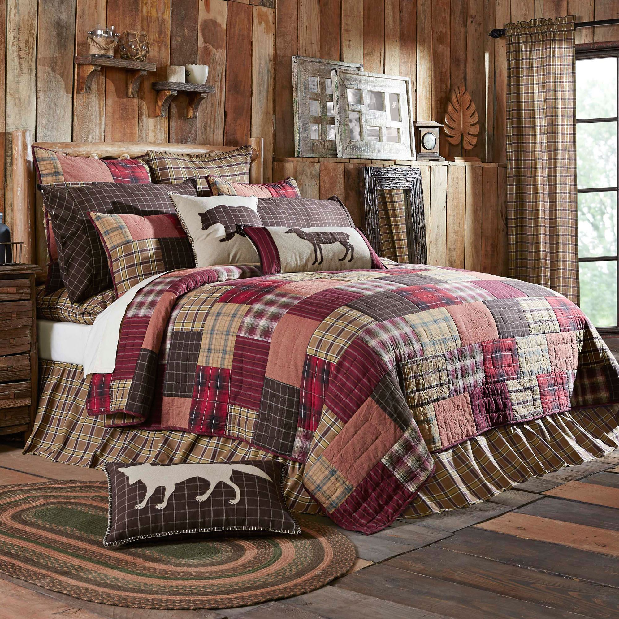 Wyatt Rustic Plaid Patchwork Quilt Bedding