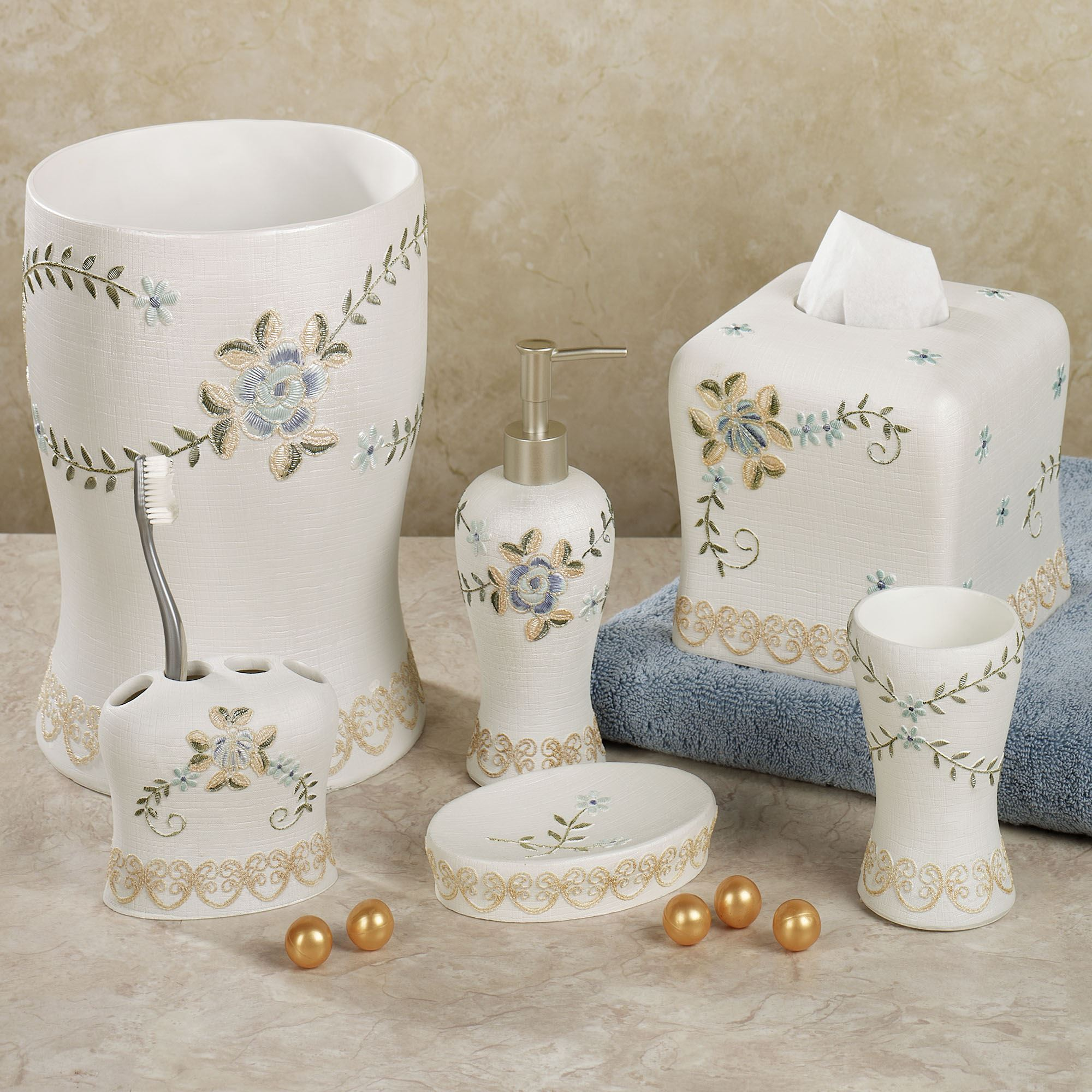 Bella rose bath accessories for Blue and gray bathroom accessories