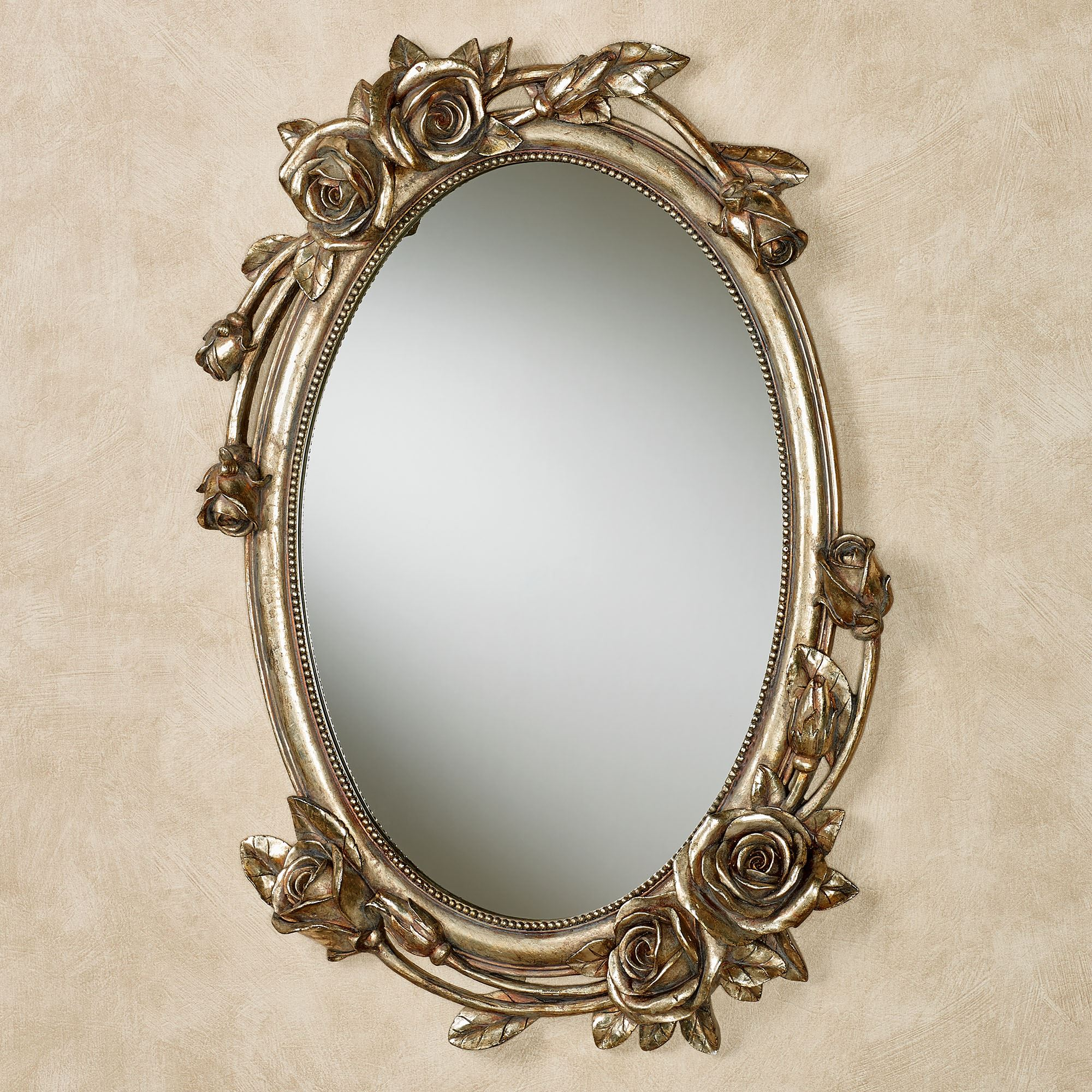 Rose melody venetian gold floral oval wall mirror for Oval wall mirror