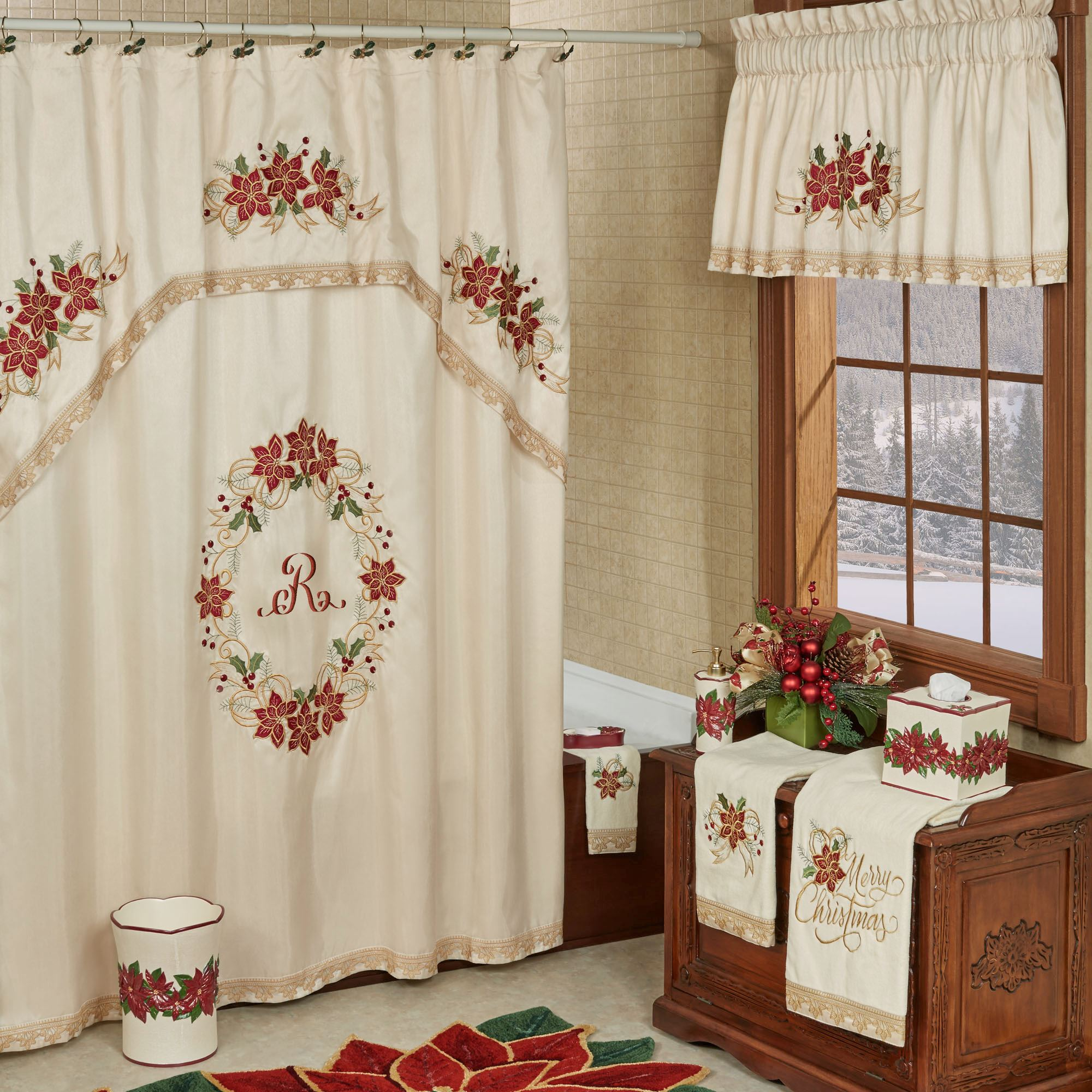 Poinsettia Palace Embroidered Holiday Shower Curtain