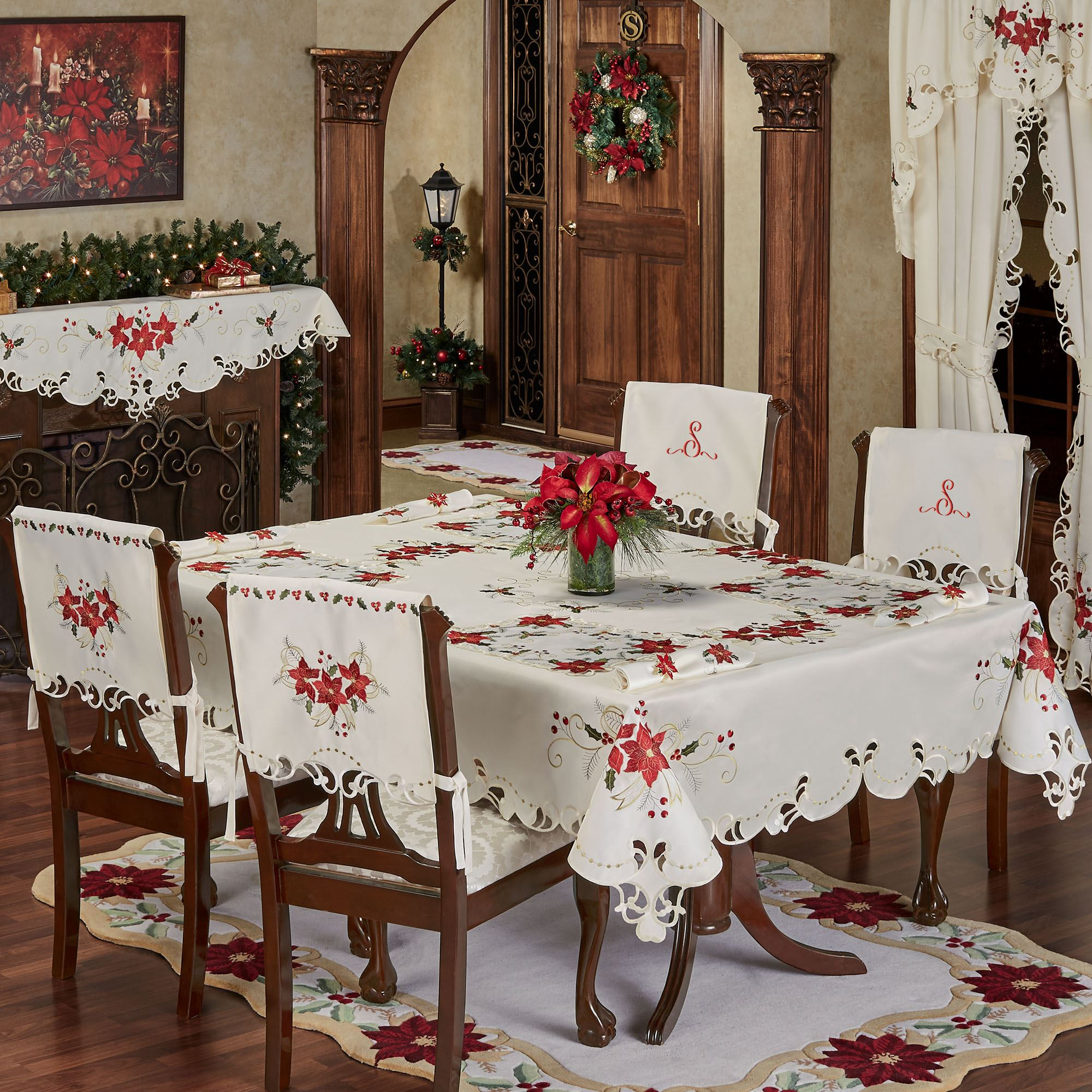 Dining Room Table Linens dining table cover ideas large size of dining room table linen ideas grid tablecloth set font Poinsettia Palace Tablecloth Champagne Click To Expand