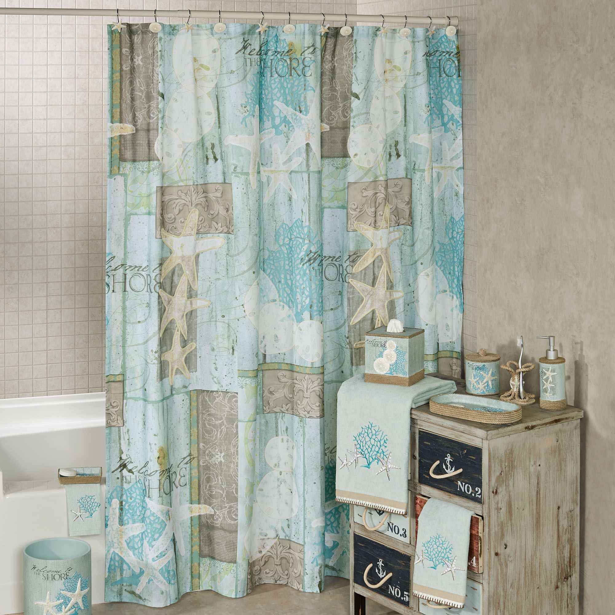 Beachcomber Shower Curtain Multi Cool 72 X