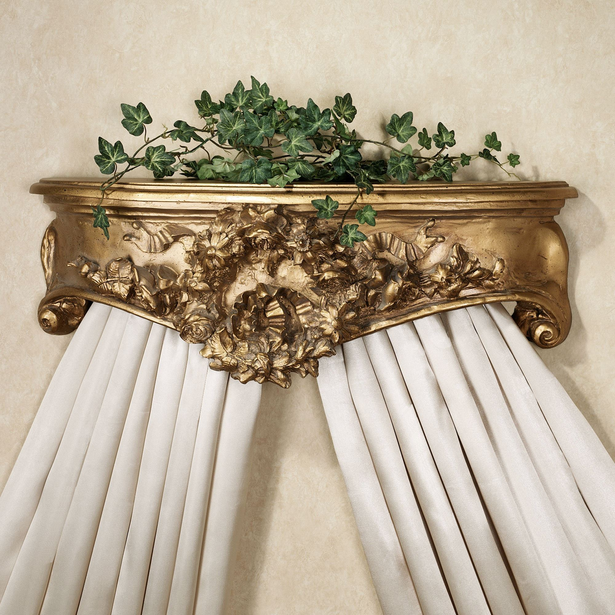 Floral Wreath Aged Gold Wall Teester Bed Crown