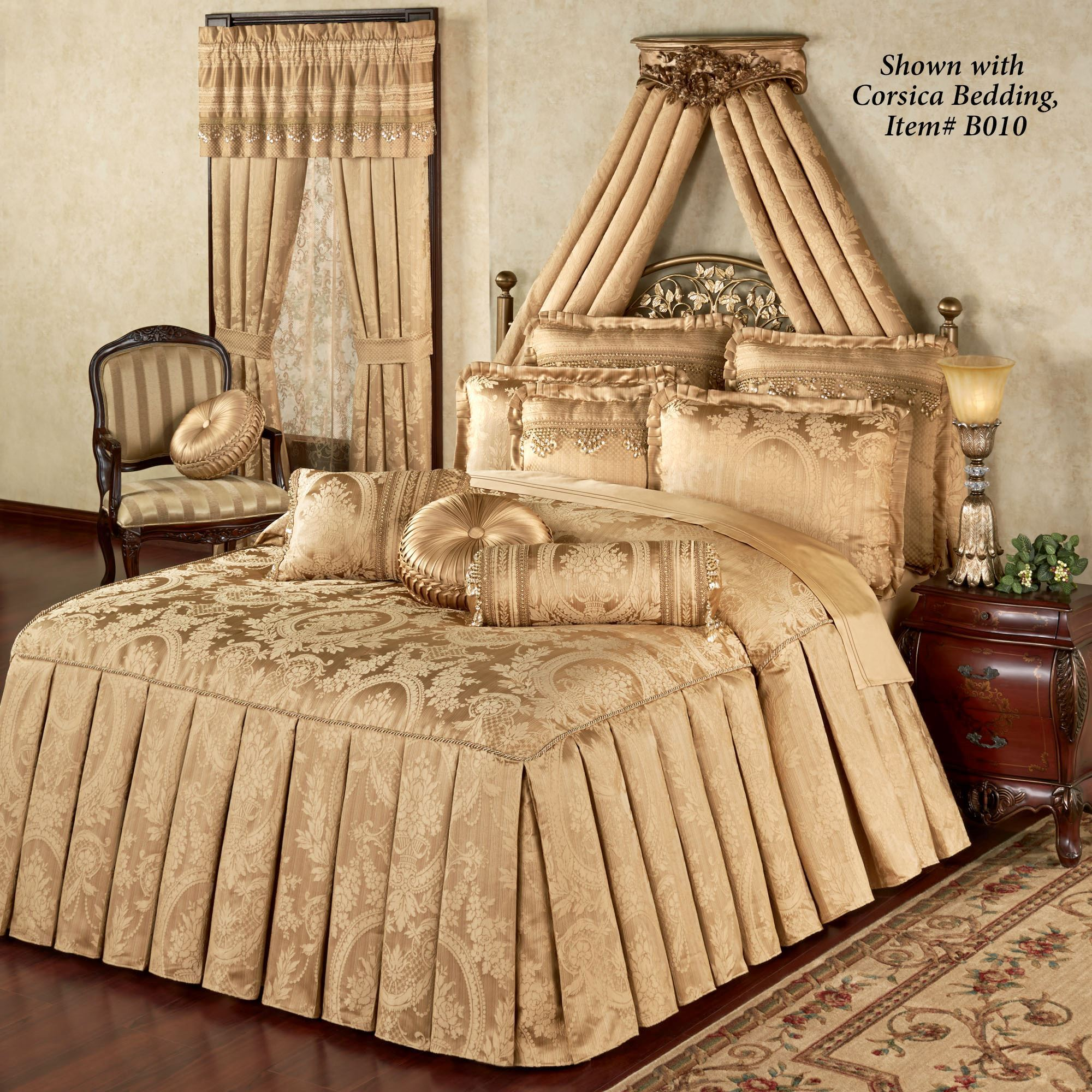 couture mezzo canopy bed drapes above