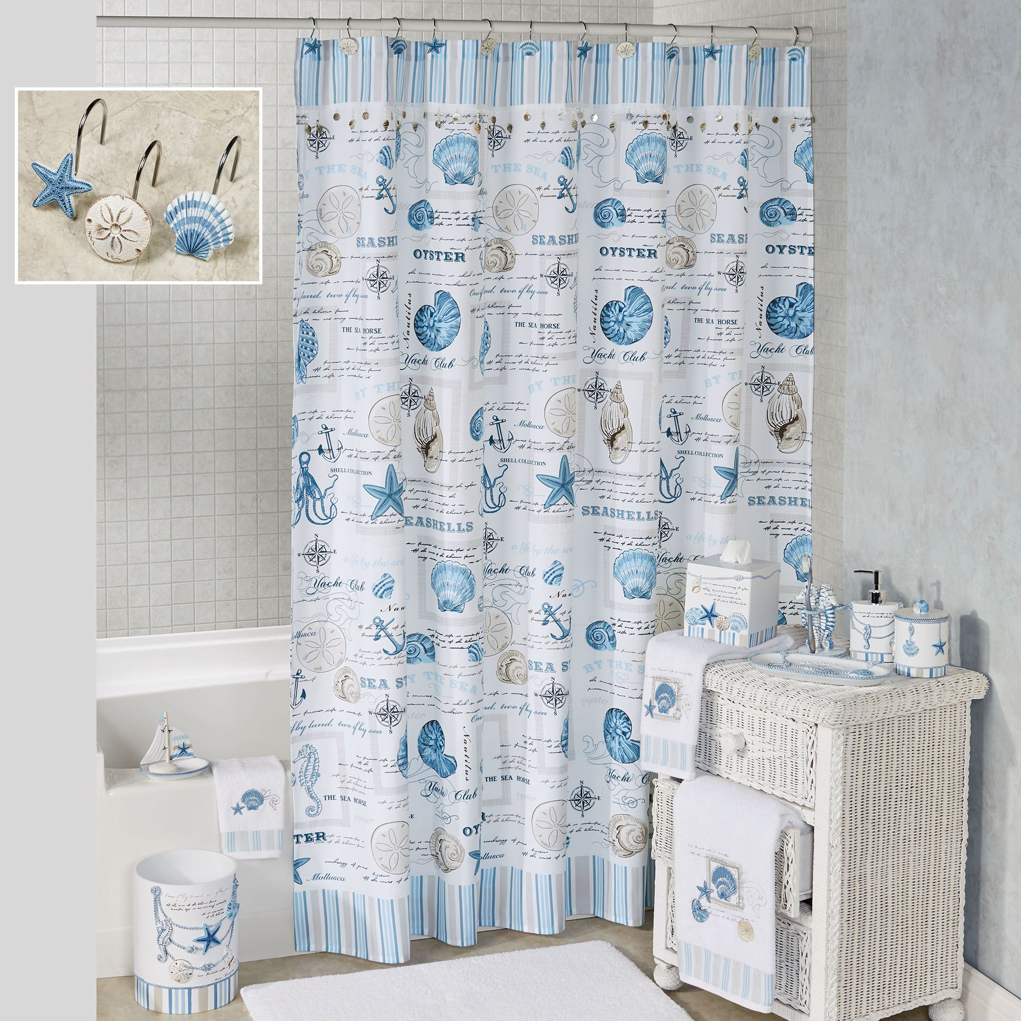 Island View Shower Curtain Blue 72 X