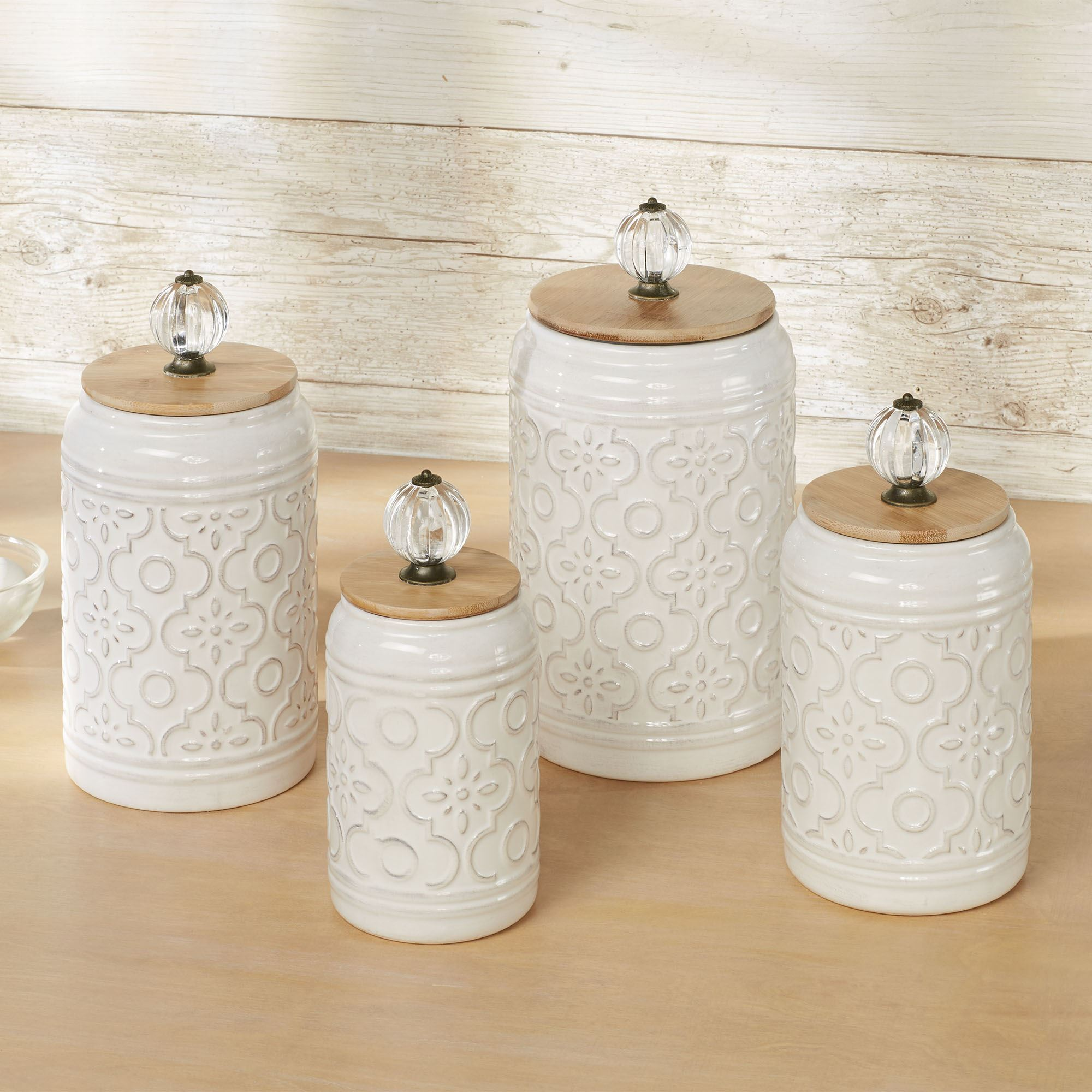 Bria Ivory Ceramic Kitchen Canister Set Of 4