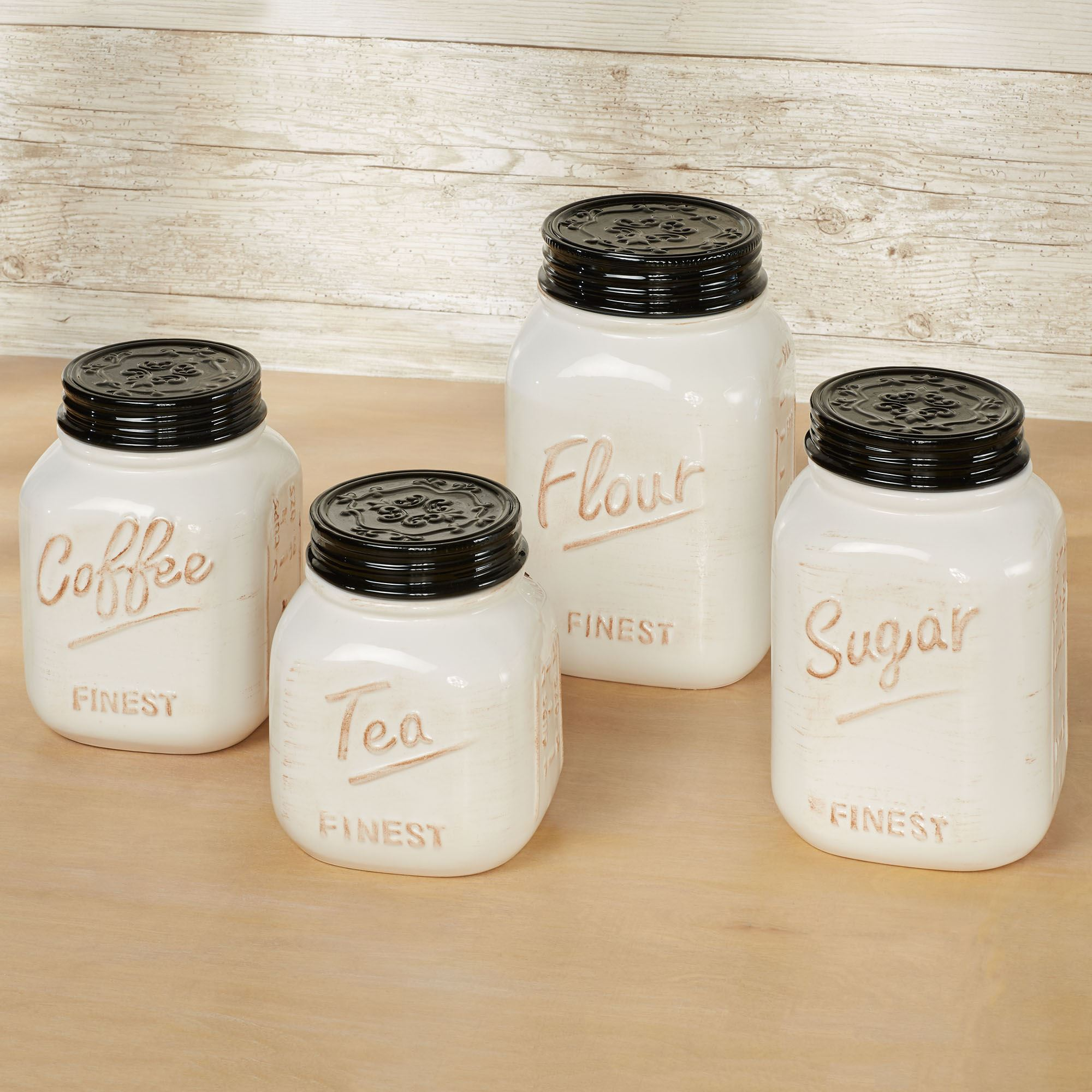 Rustic Farmhouse Vintage Style Kitchen Canister Set