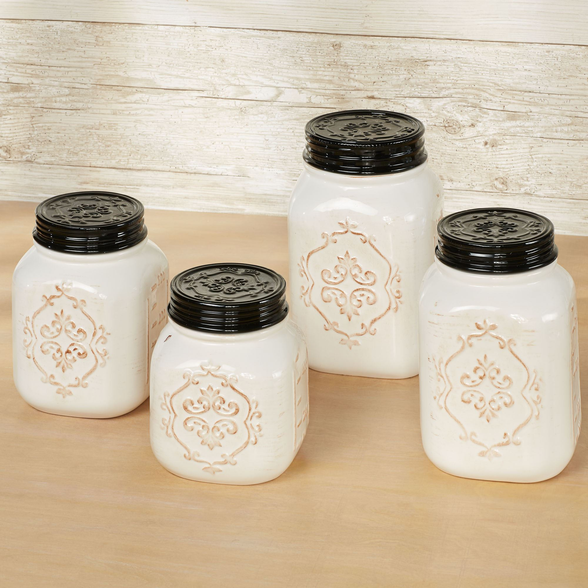 Rustic farmhouse kitchen canisters off white set of four