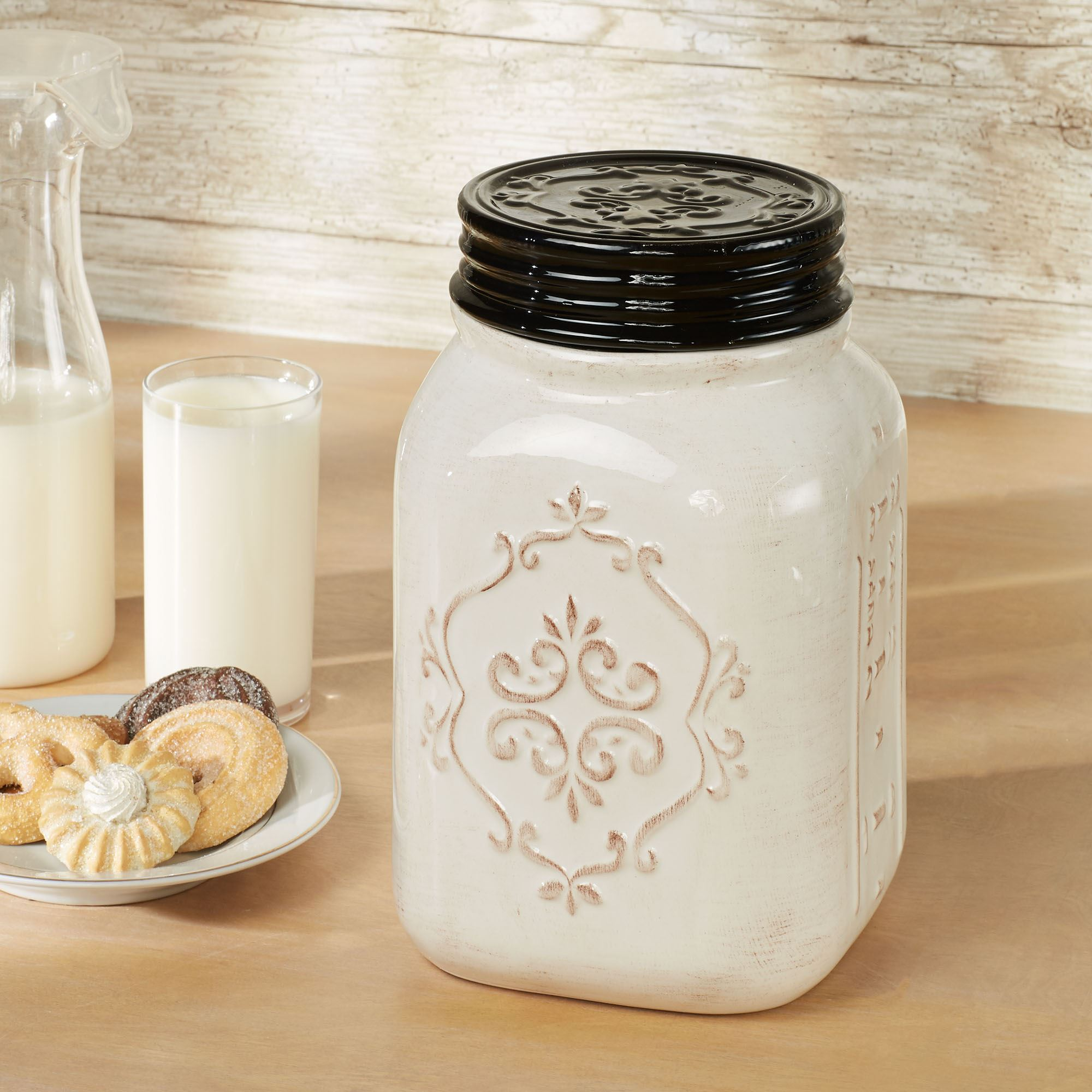 Rustic Farmhouse Cookie Jar Off White