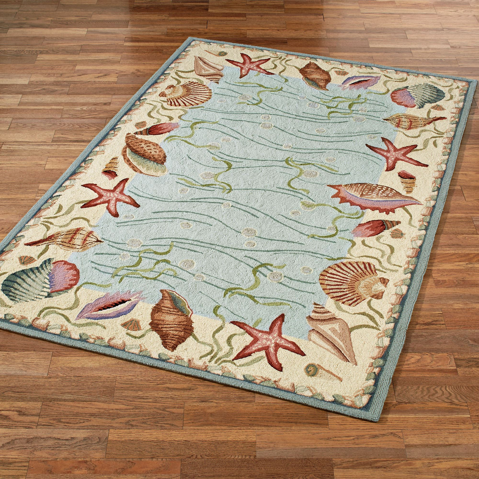 Ocean Surprise Coastal Seashell Area Rugs