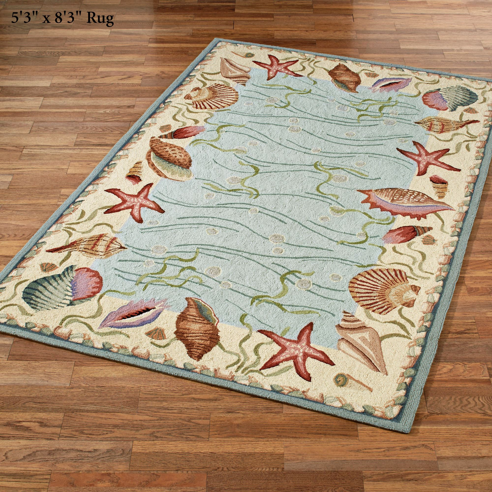 ocean surprise coastal seashell area rugs. Black Bedroom Furniture Sets. Home Design Ideas