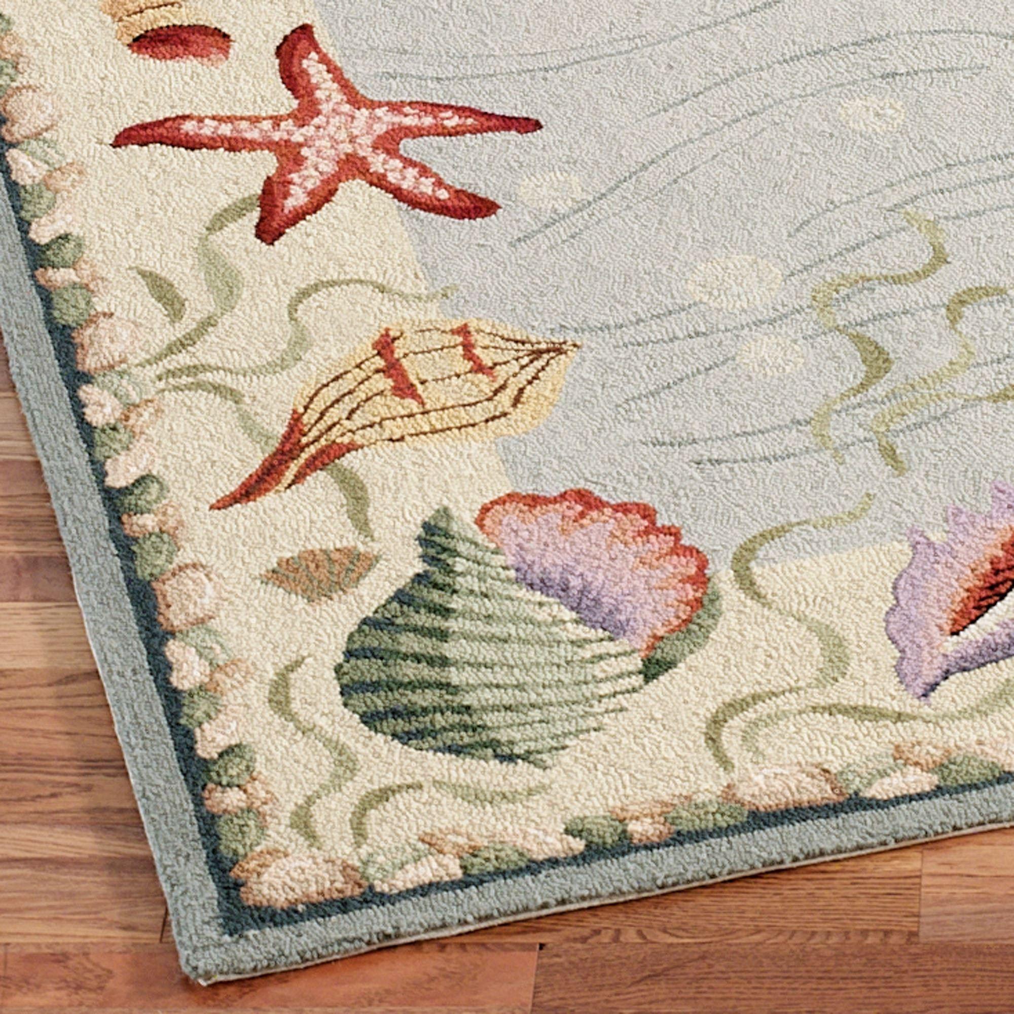 Ocean Surprise Coastal Seashell Rug Runner
