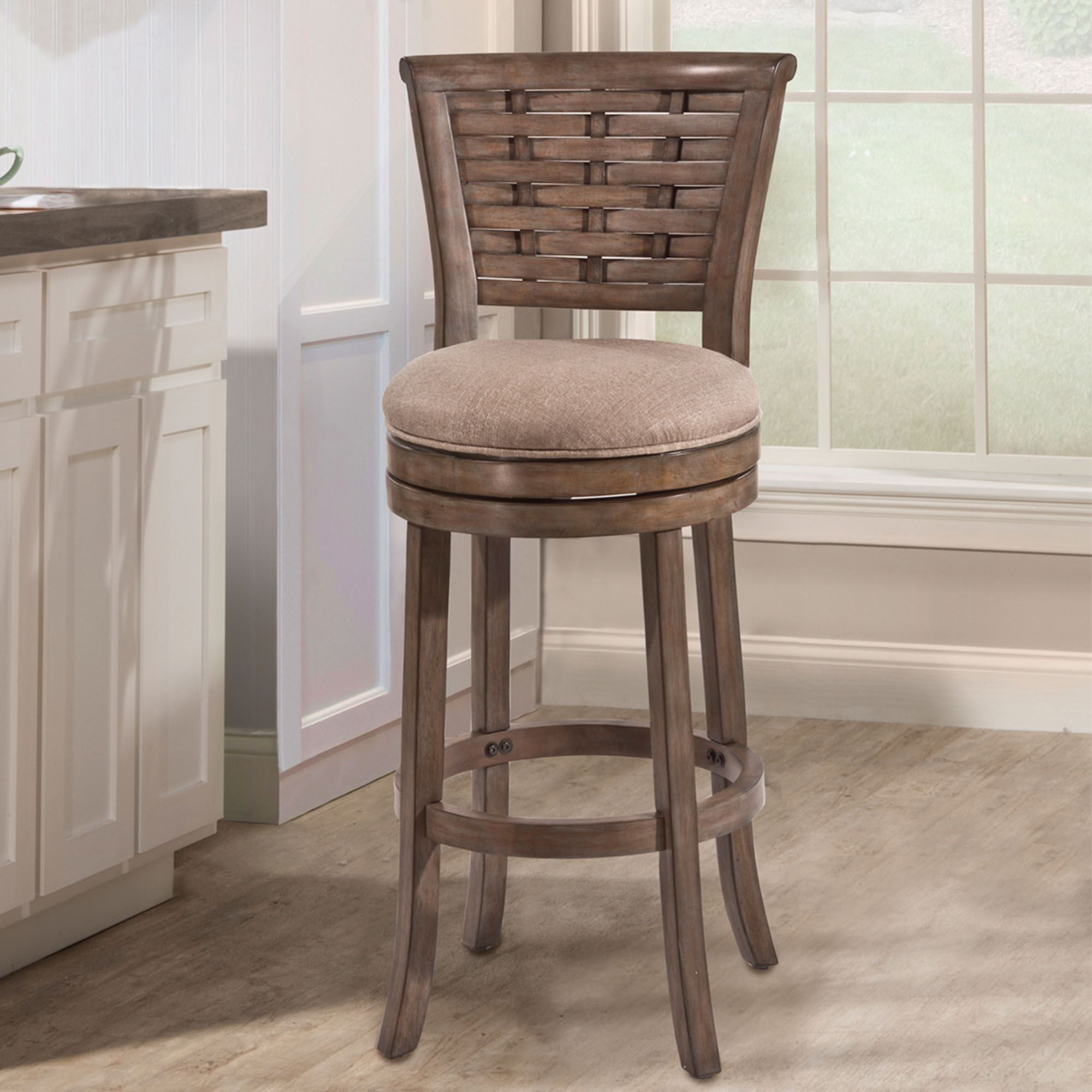Emmett Upholstered Wooden Swivel Bar Or Counter Stool