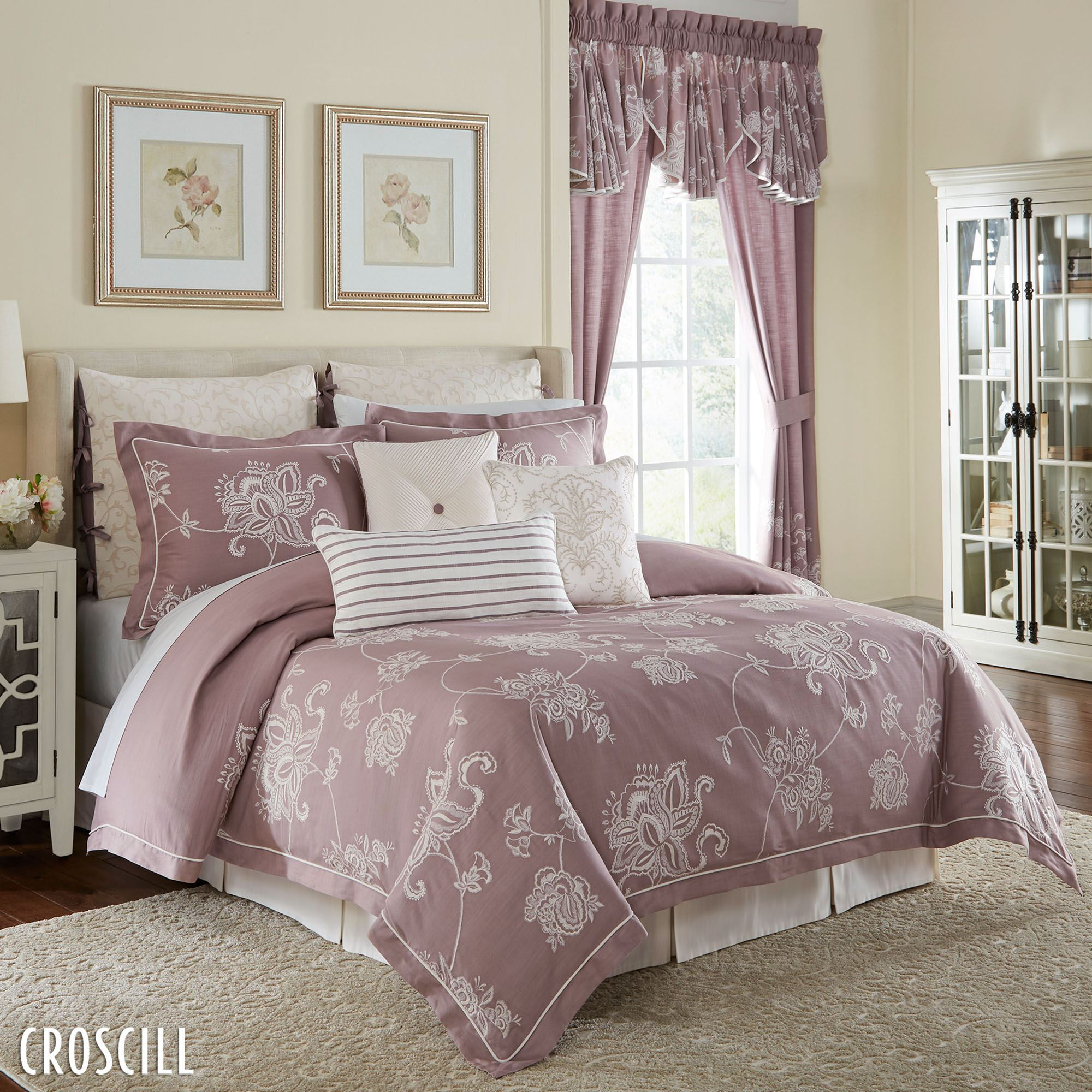 pink floral bedroom ideas liliana jacobean floral mauve comforter bedding by croscill 16741