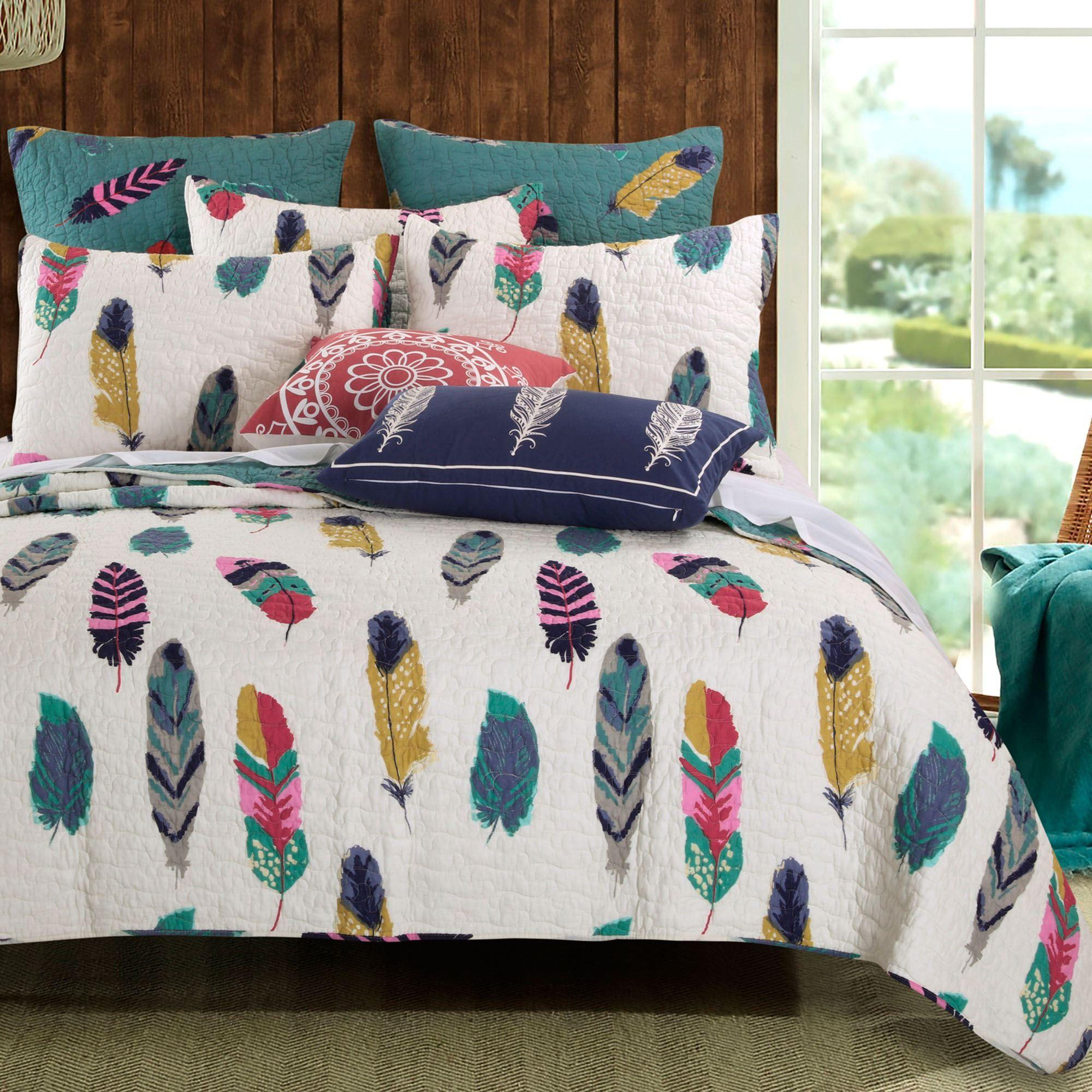 Dream Catcher Feather Print 4 5 Pc Quilt Bed Set