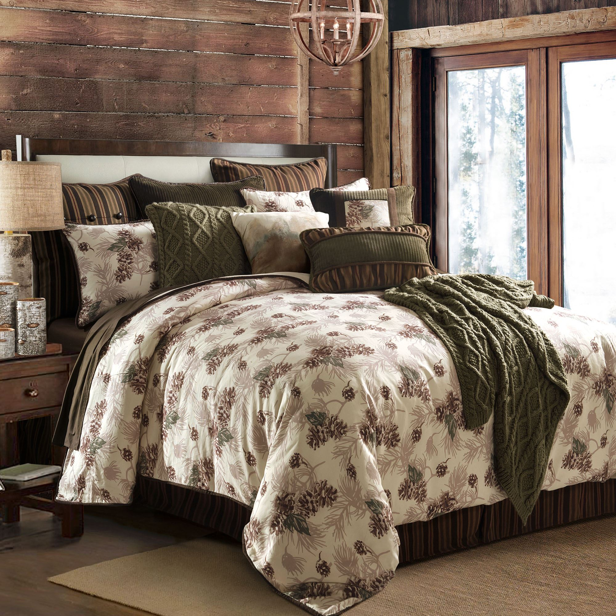p set comforter morning chocolate comforters plaid bedding montana rustic