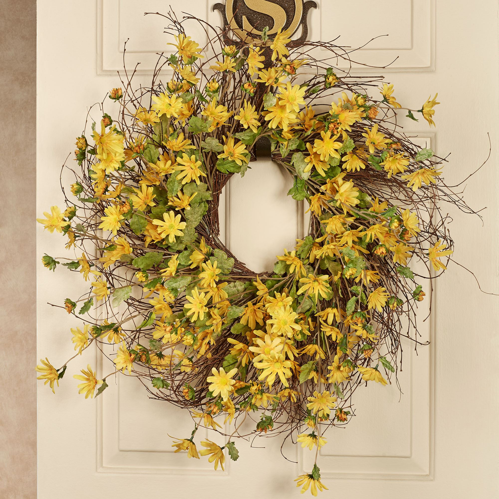 Sunshine Golden Yellow Daisy Indoor Floral Wreath