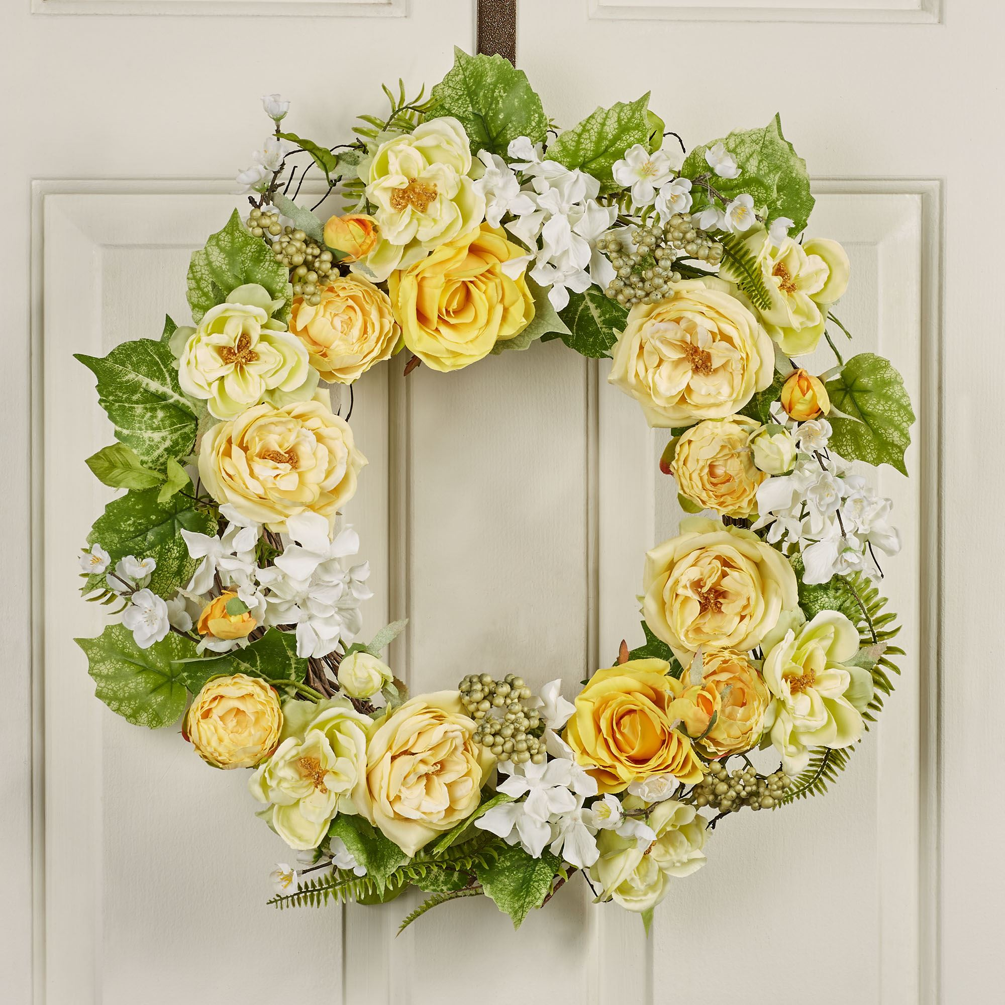 Sunny Day Yellow Floral Indoor Outdoor Wreath