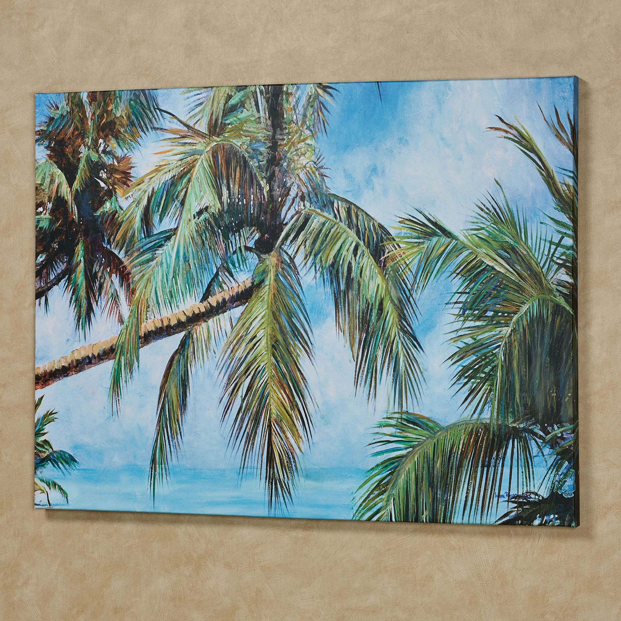 Leaning Palm Trees Tropical Canvas Wall Art
