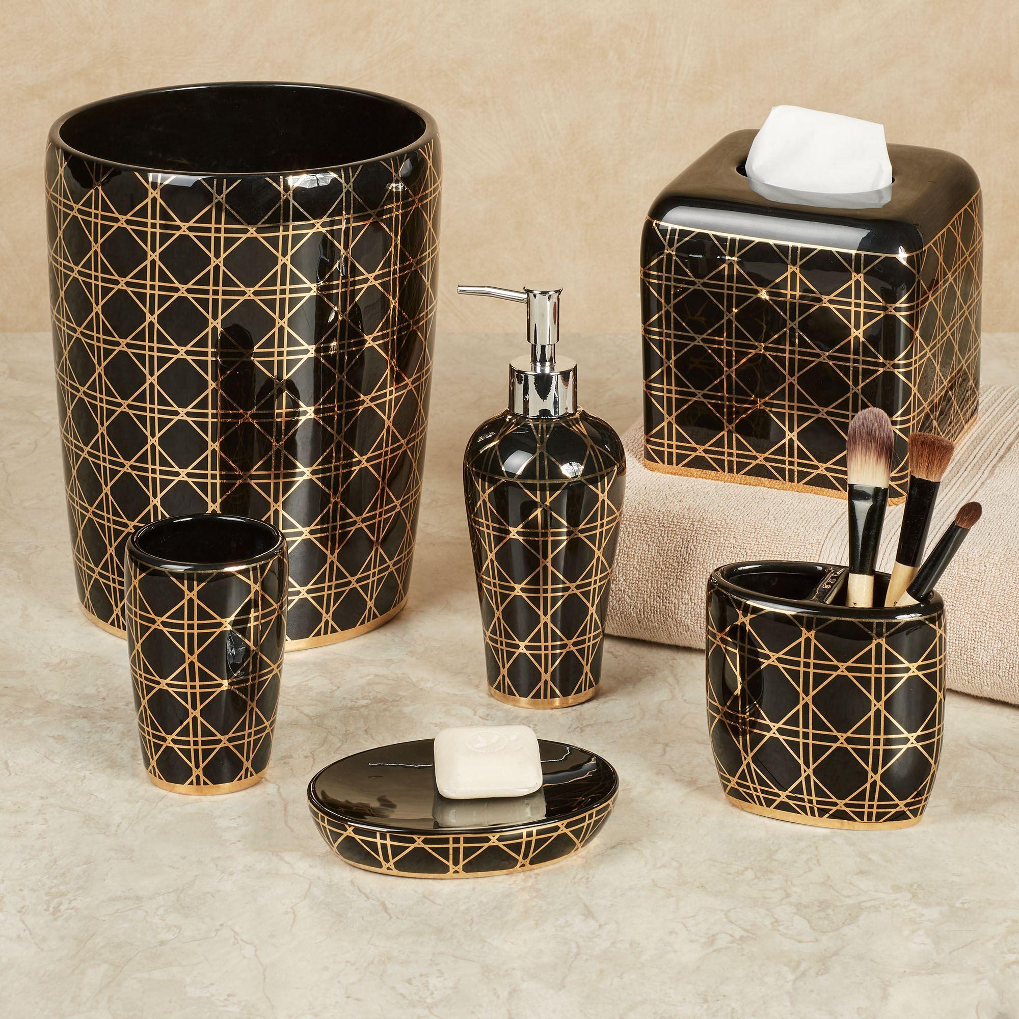 Beauty Black And Gold Geometric Bath Accessories