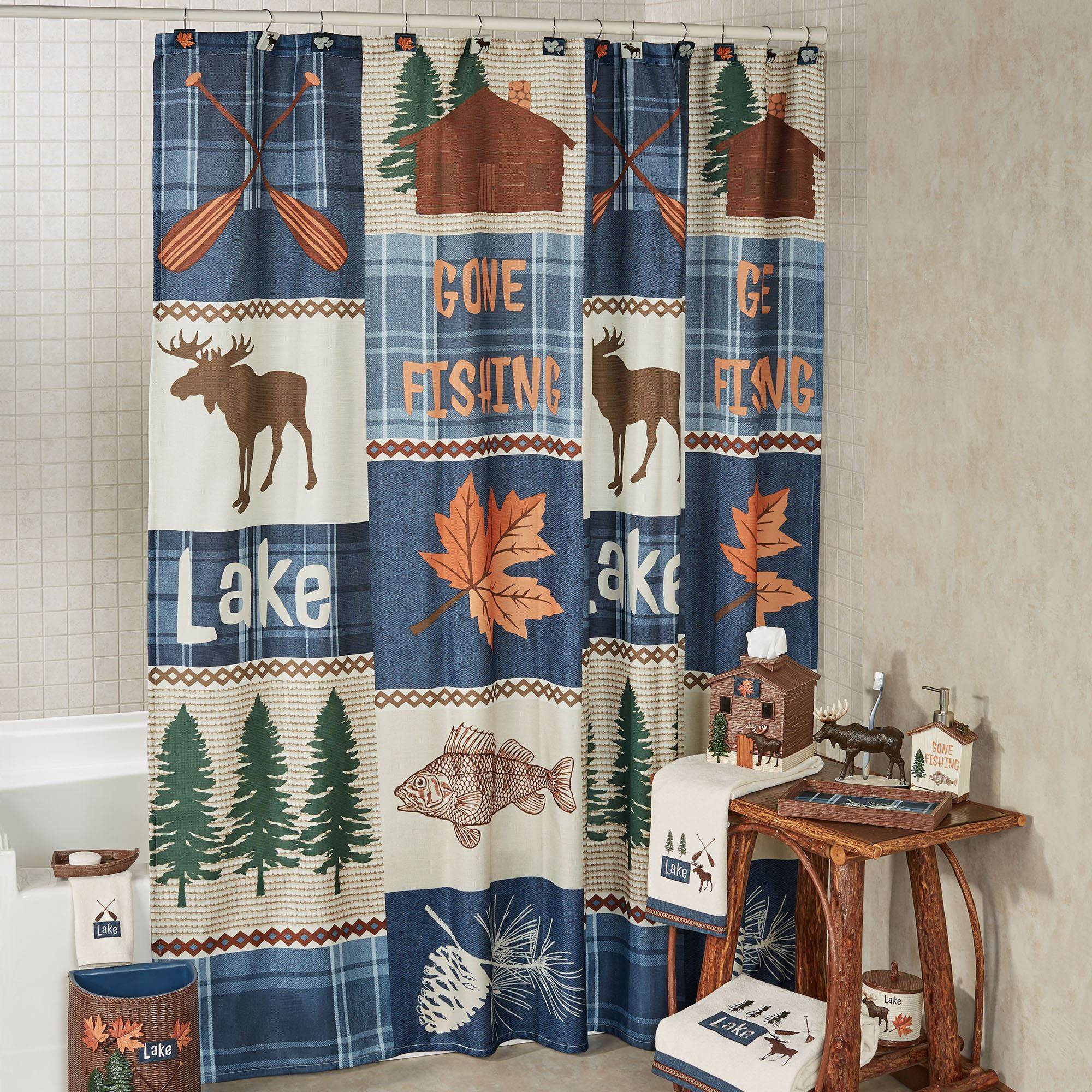 Lakeville Shower Curtain Multi Warm 72 X