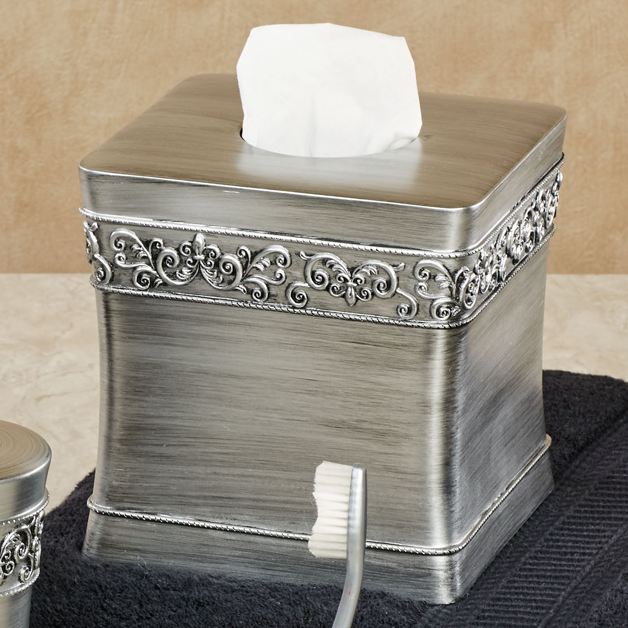 Murano Brushed Silver Bath Accessories - Brushed silver bathroom accessories