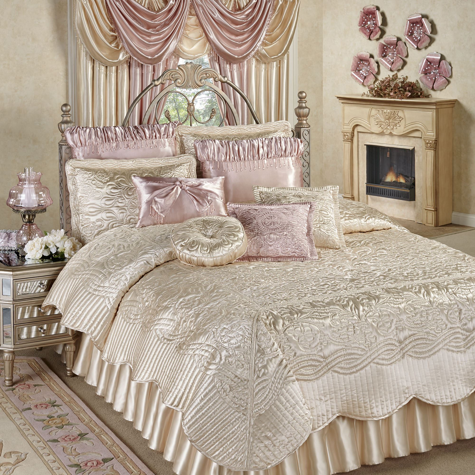 Prima Pearl Poly Satin Coverlet Set Bedding