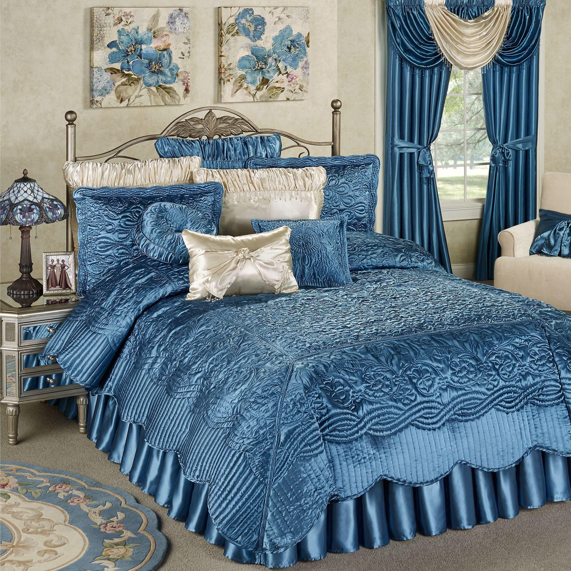 Prima Sapphire Blue Poly Satin Coverlet Set Bedding