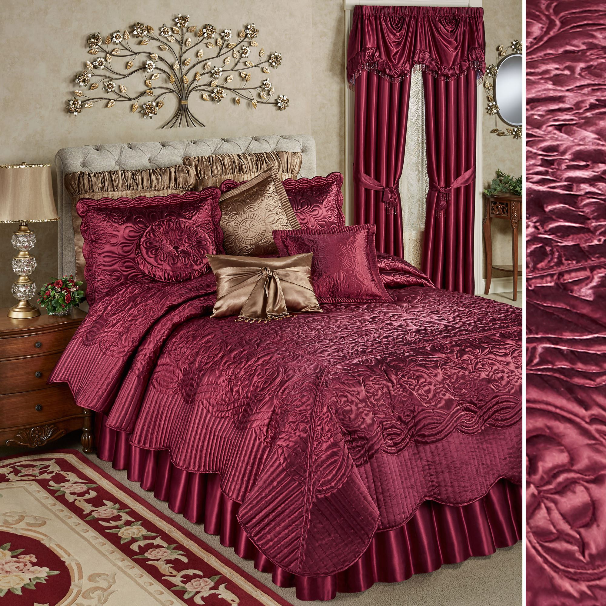 Prima Ruby Poly Satin Coverlet Set Bedding