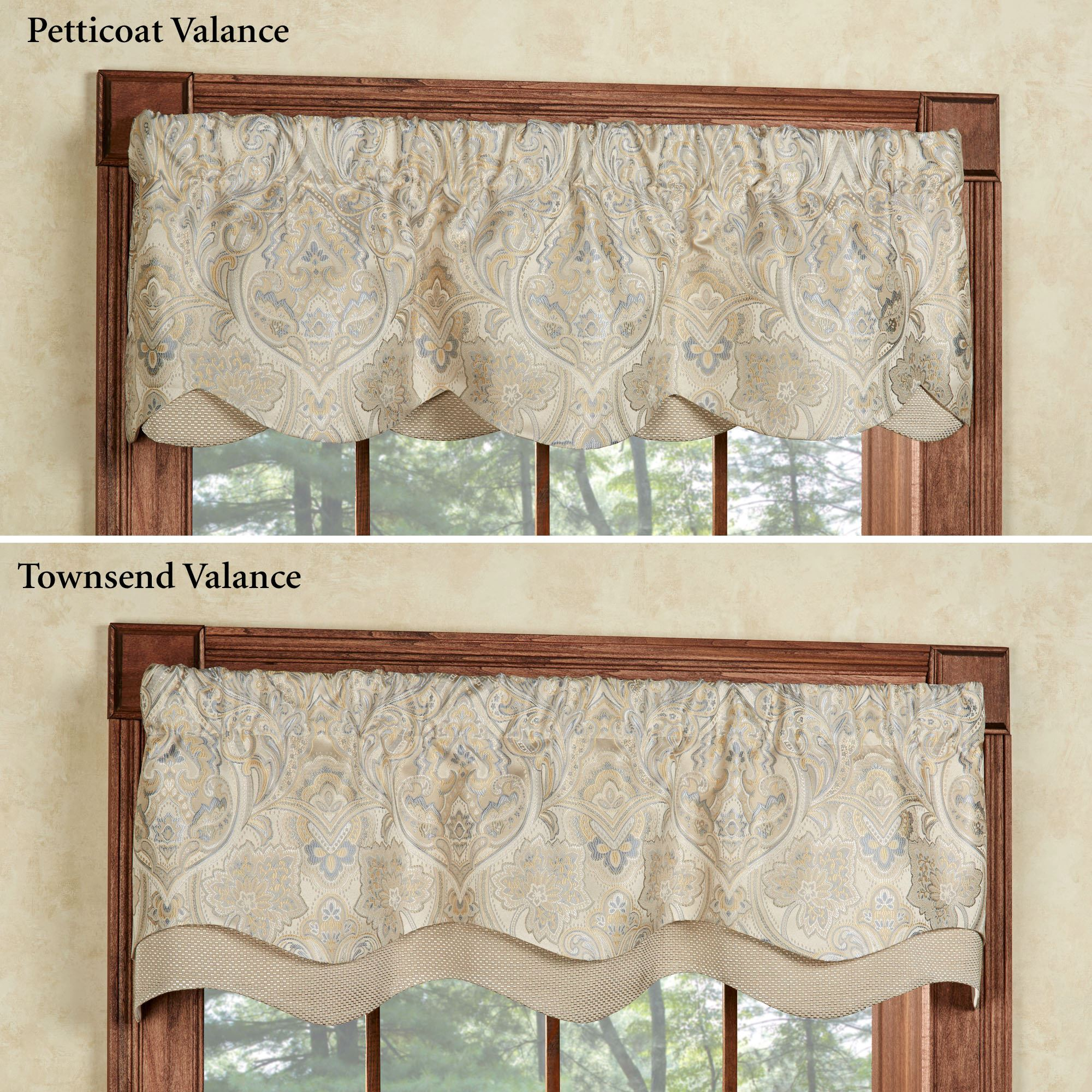 decor ivory beige window valance home curtin com x kitchen amazon lush gigi dp
