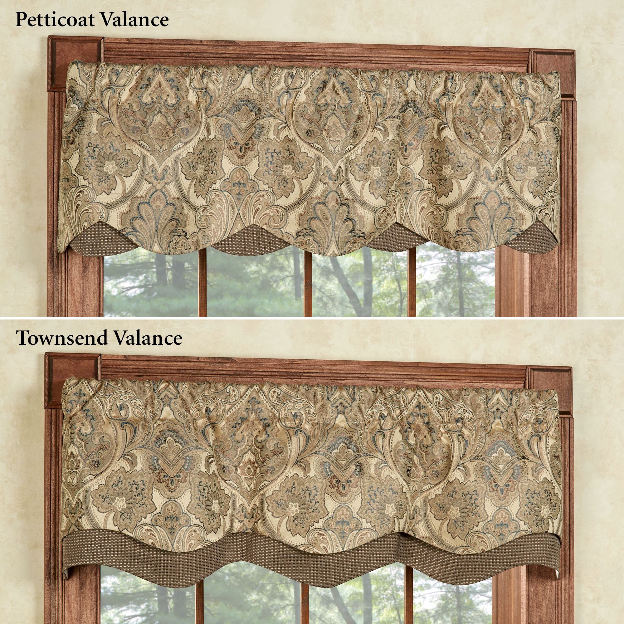 Hollyhock Gold Layered Window Valance