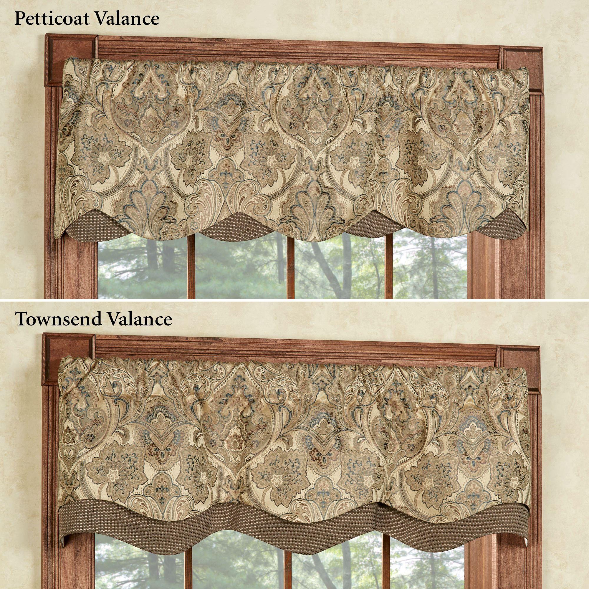 Hollyhock Gold Layered Window Valance, Living Room Valances