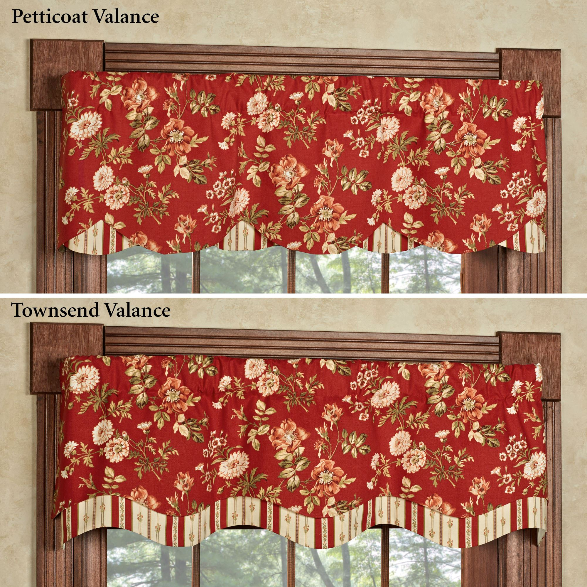 floral window valances magnolia touch to zoom farrell dark red floral layered window valance