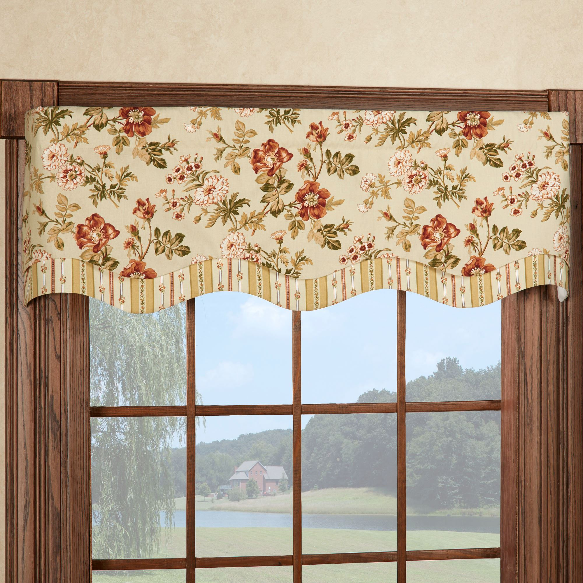 western distressed brown leather window valance
