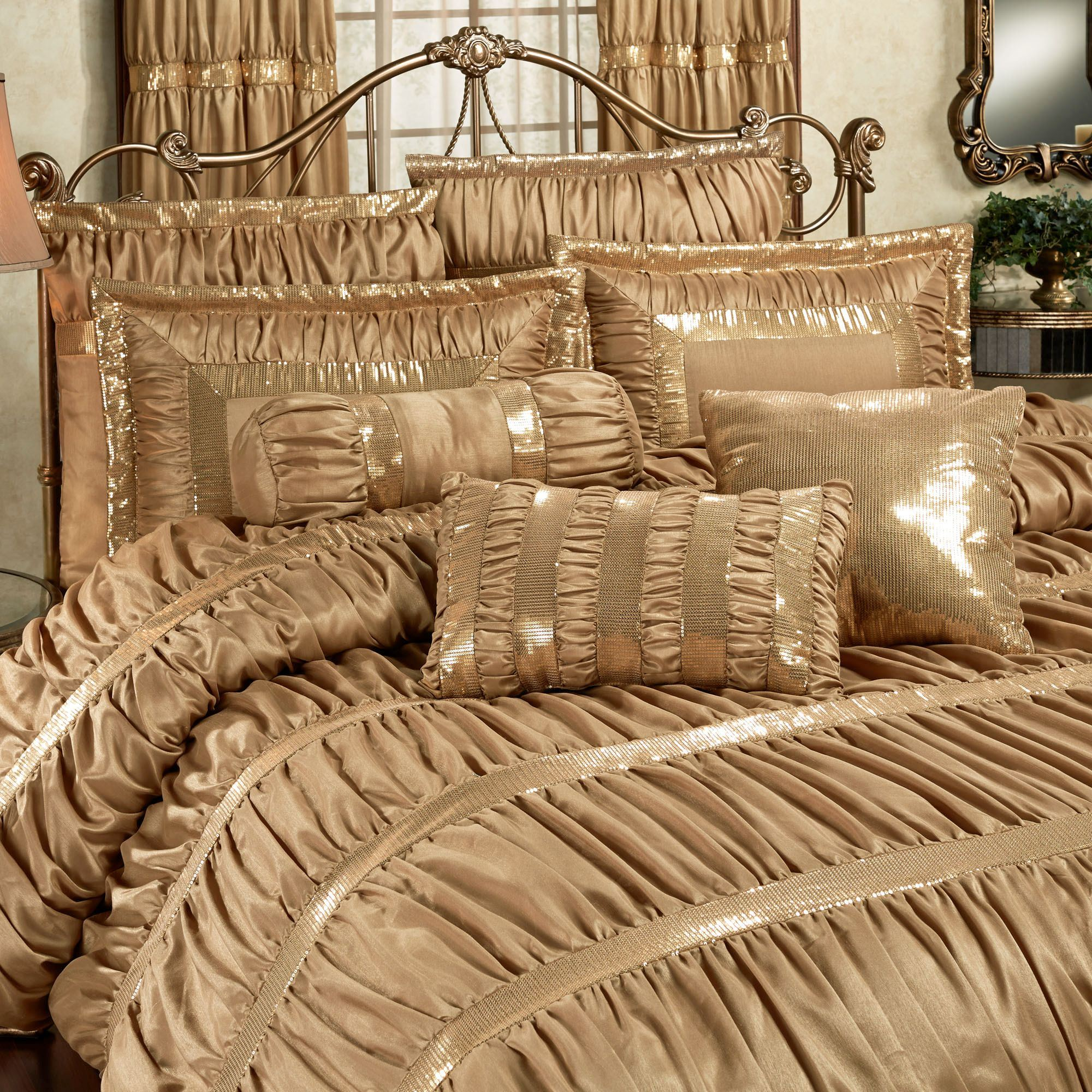 Splendor Shirred Faux Silk Dark Gold Comforter Bedding