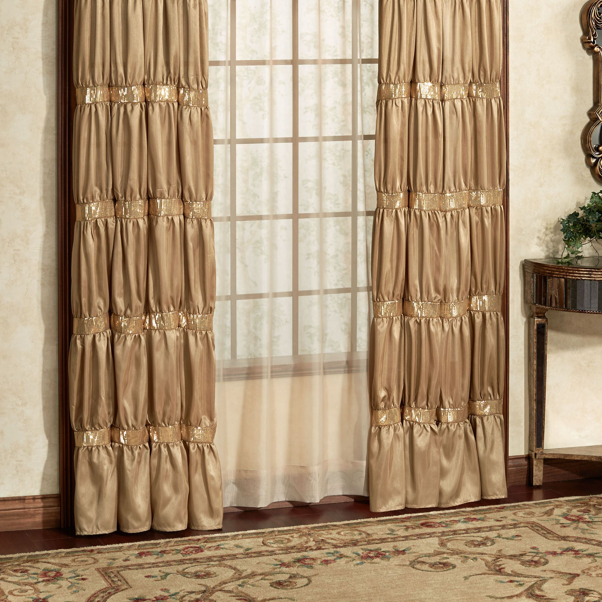 Attractive Splendor Shirred Faux Silk Dark Gold Window Treatment RE17