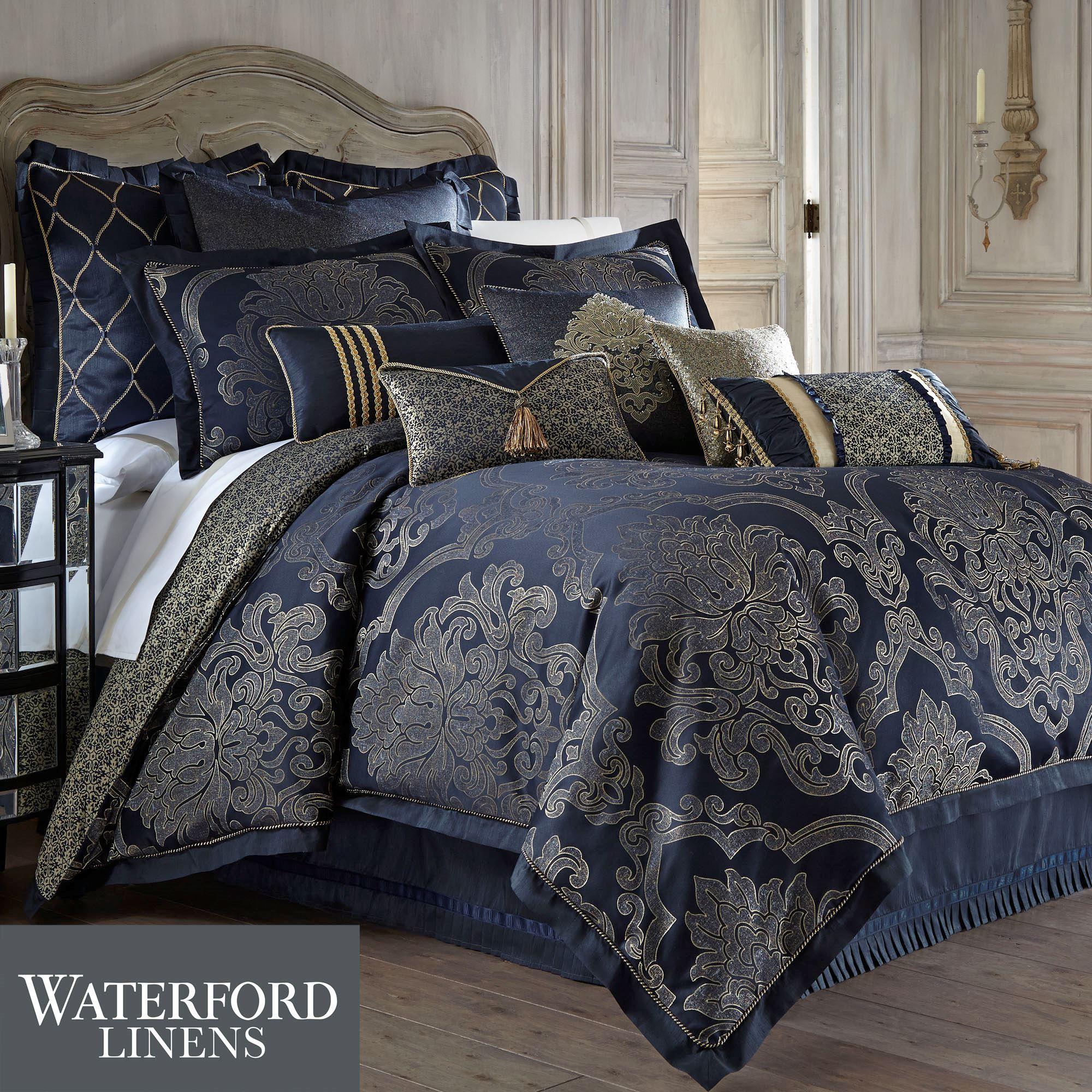 Vaughn navy comforter bedding by waterford linens - Bedroom sheets and comforter sets ...