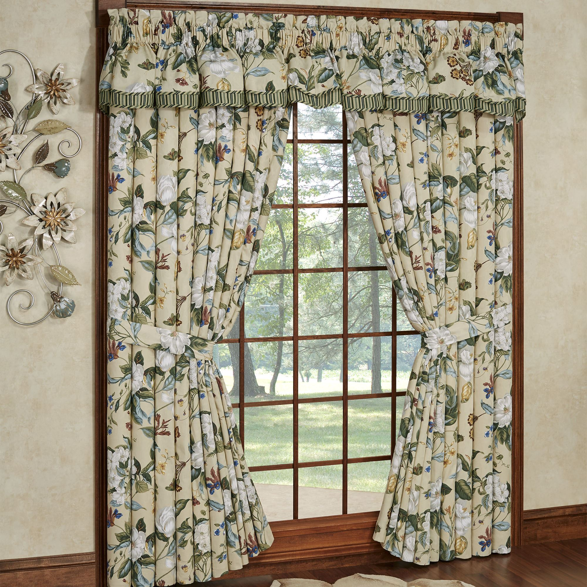 a style treatments jacobean floral window drapery drapes curtain for image teal and navy full curtains white blue shower
