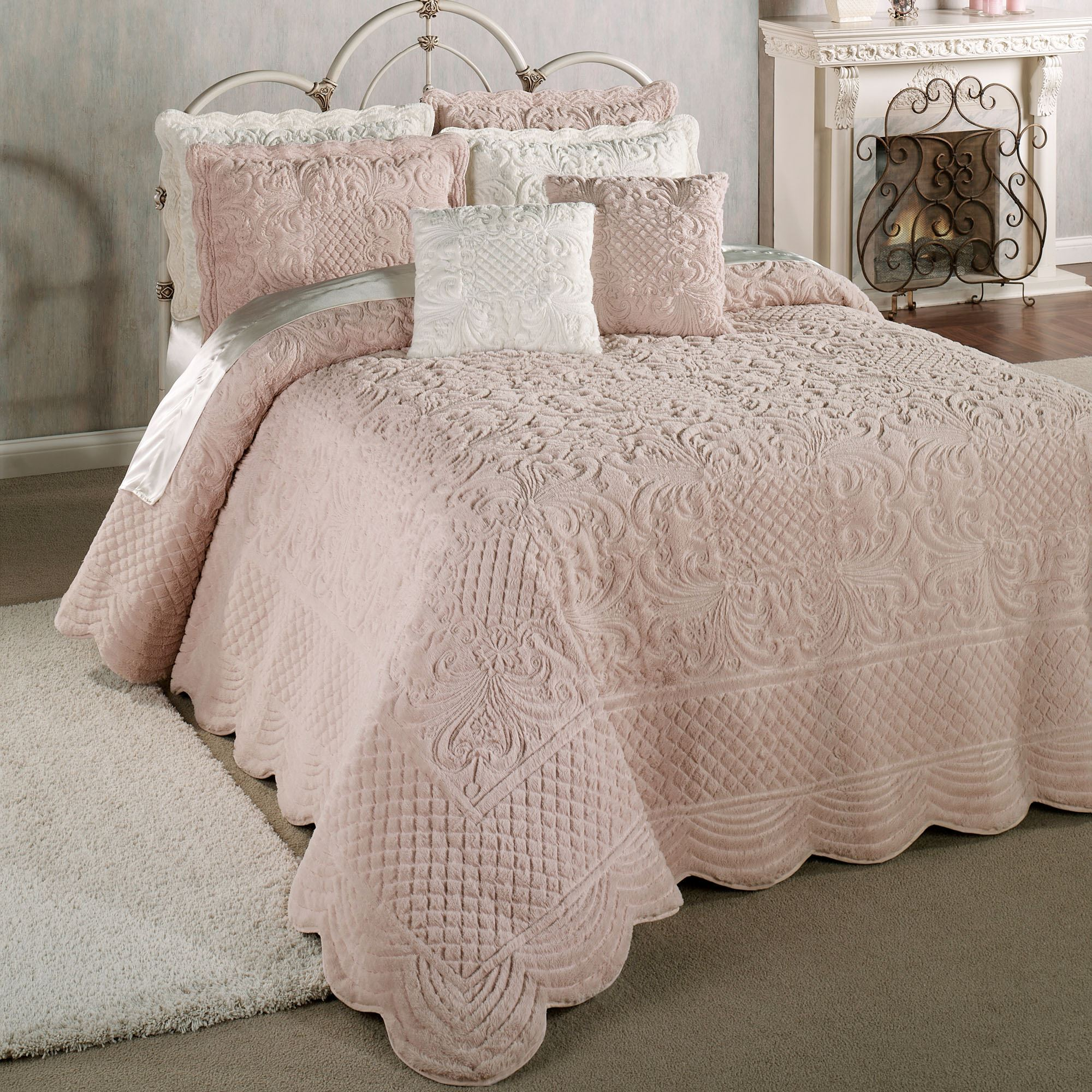 bedspread oversized quilted bedding fawn silk tailored quilt p allure grande