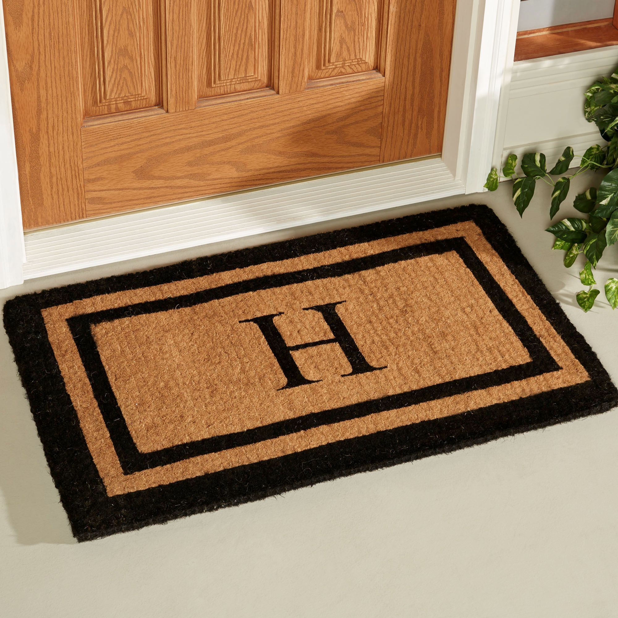 Black Double Border Monogrammed Outdoor Mat